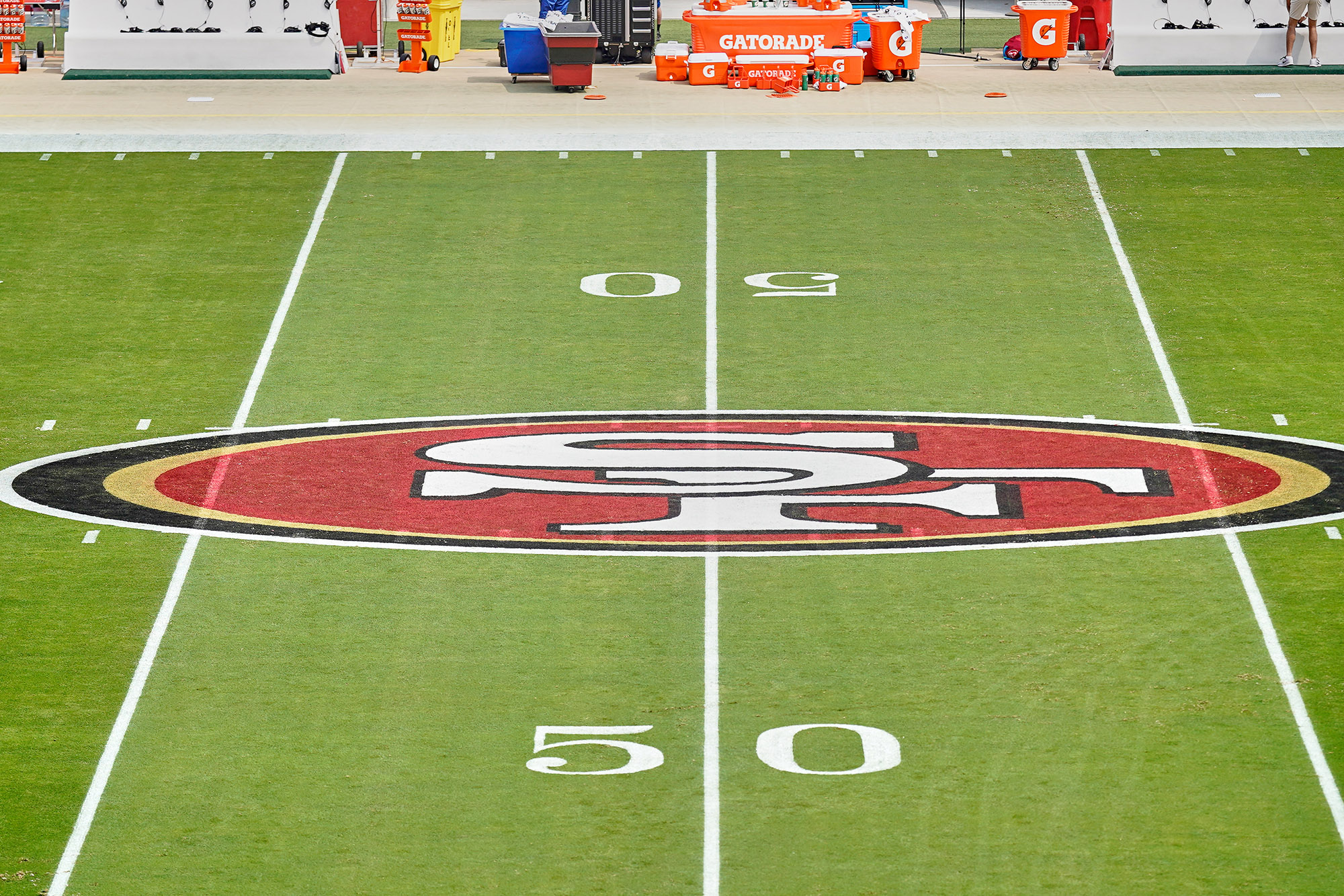 The San Francisco 49ers logo is seen at the 50 yard marker at Levi's Stadium in Santa Clara, California, on September 13.