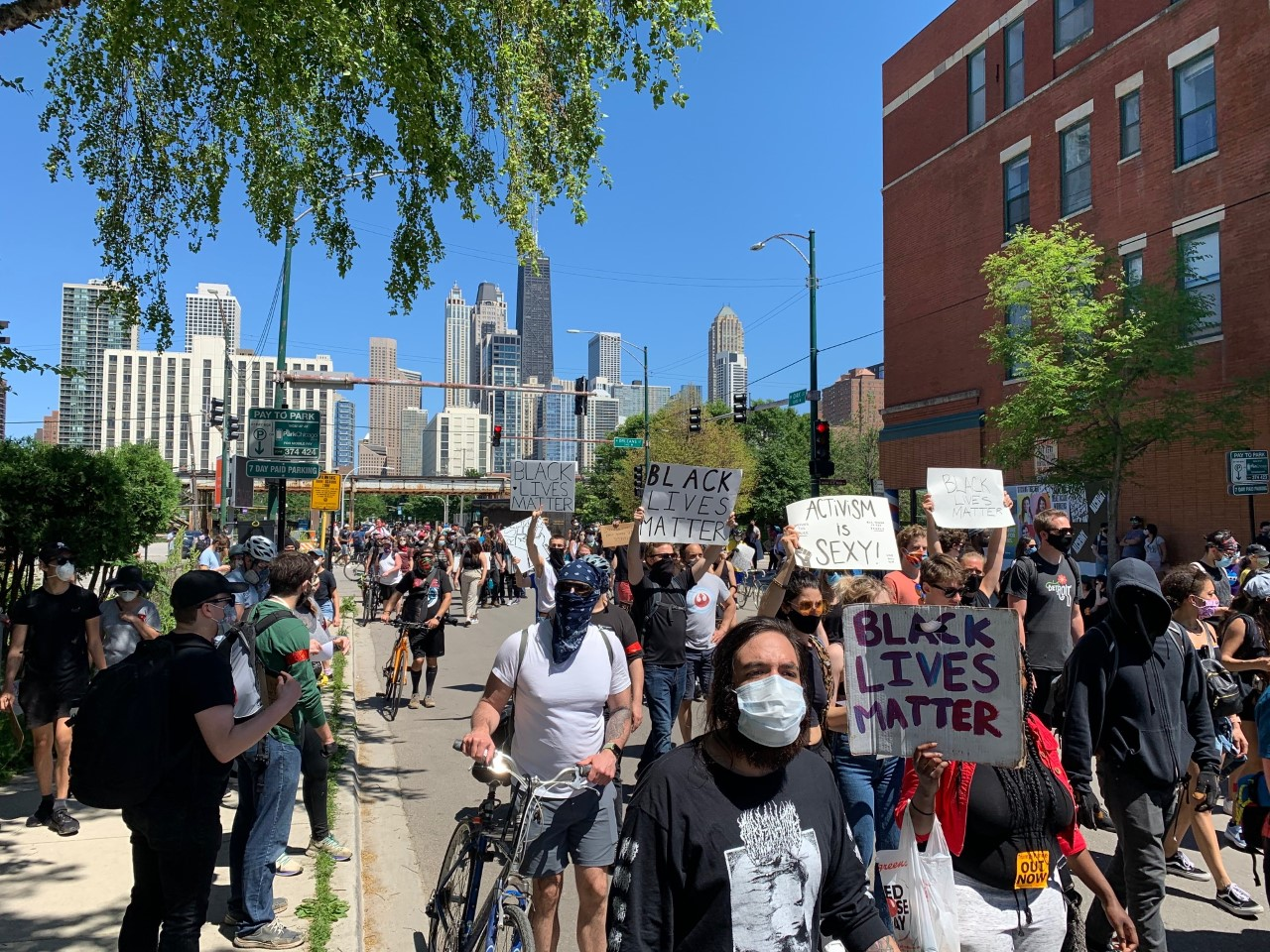 Protesters march in Chicago on June 6, 2020.