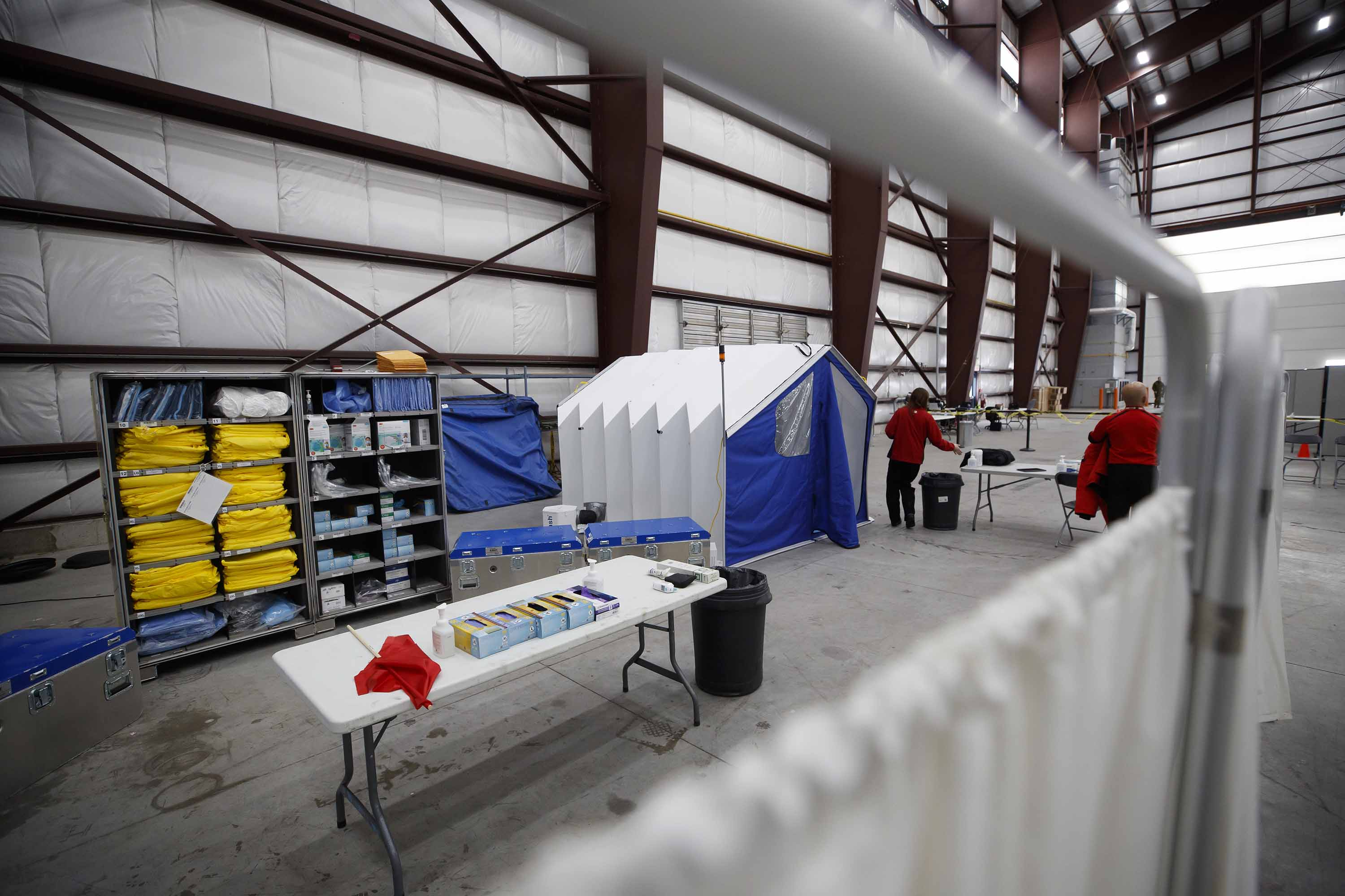 An examination area is set up at a quarantine processing facility in Trenton, Canada on February 6.