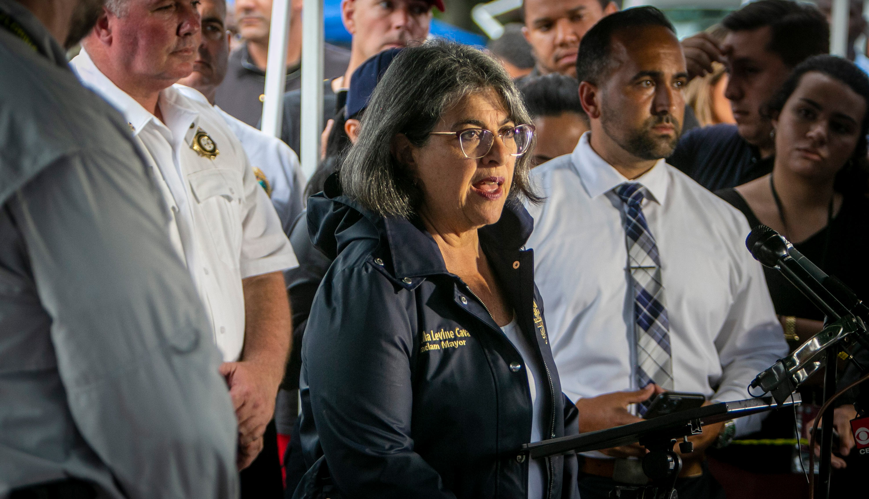 Miami-Dade County Mayor Daniella Levine Cava speaks to the media during a press conference in Surfside, Florida, on June 28.