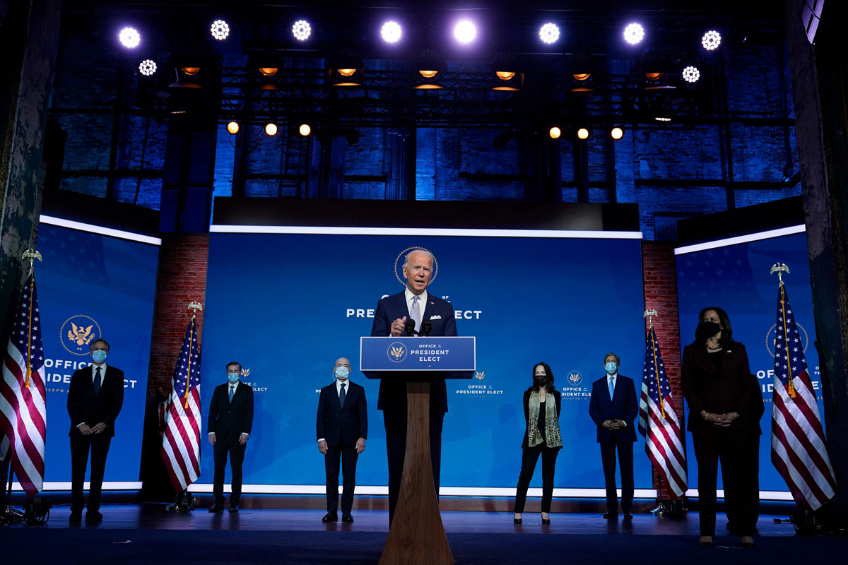 President-elect Joe Biden and Vice President-elect Kamala Harris introduce their nominees and appointees to key national security and foreign policy posts at The Queen theater on November 24, in Wilmington, Delaware.