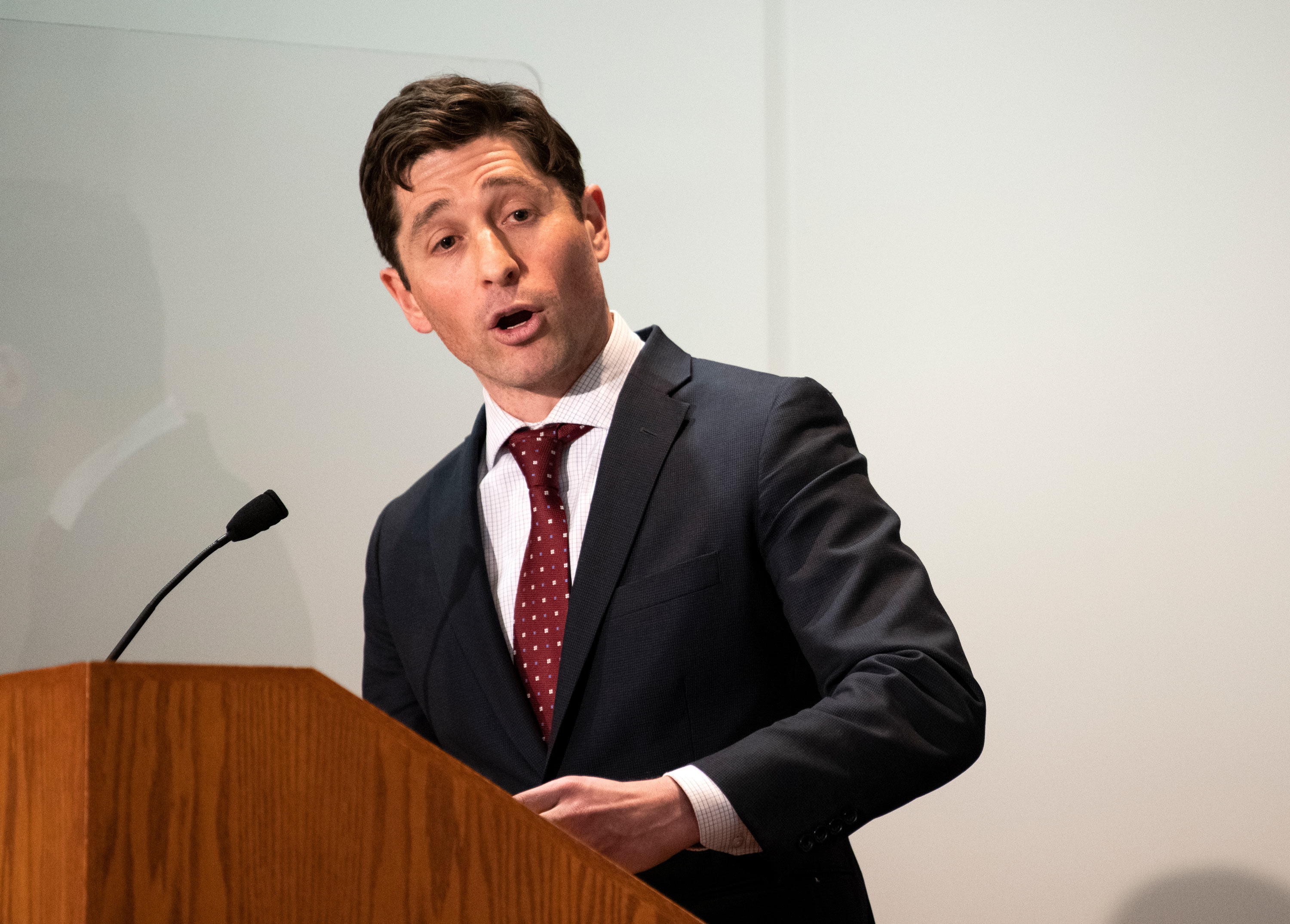 Minneapolis Mayor Jacob Frey speaks at a press conference on April 19 in St. Paul, Minnesota.