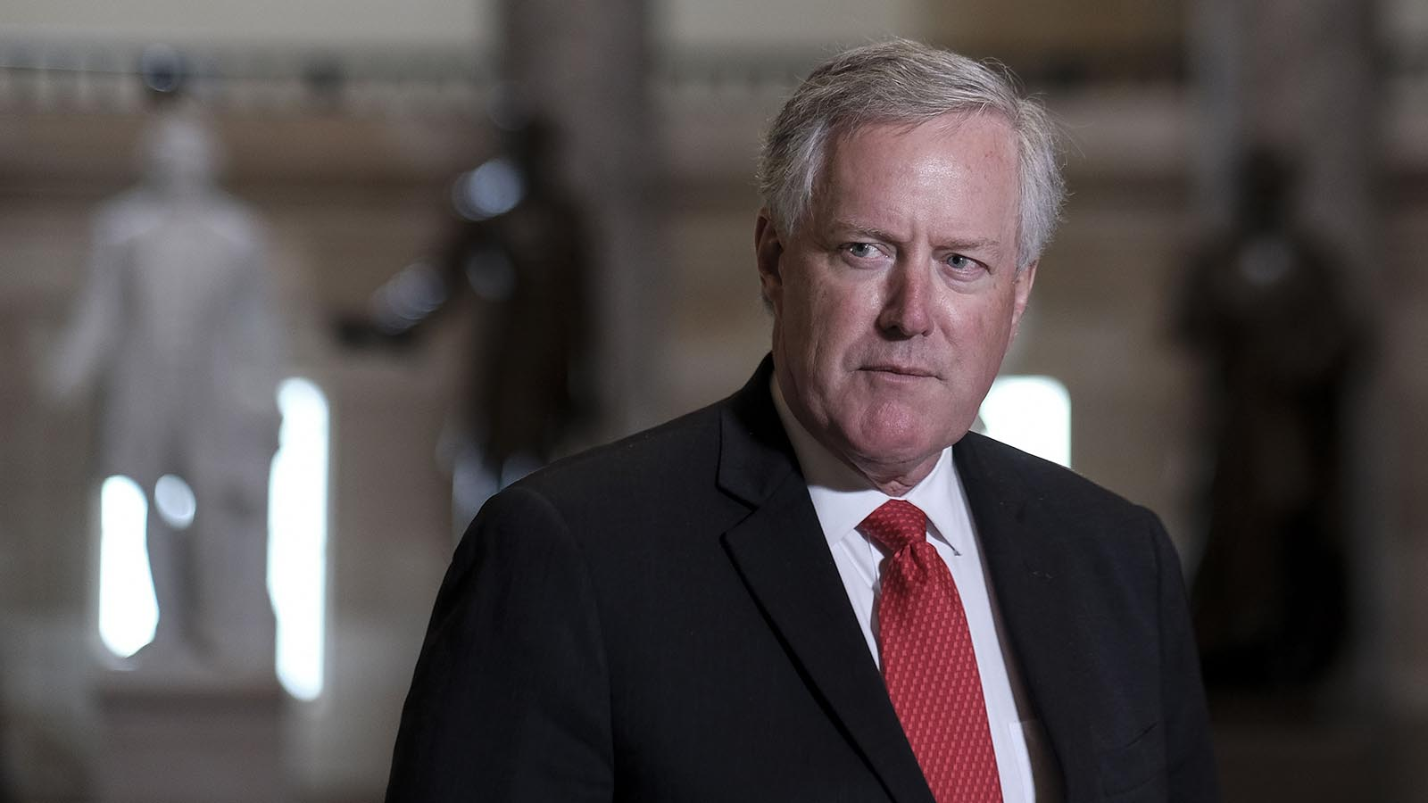 White House Chief of Staff Mark Meadows speaks to the press in Statuary Hall at the Capitol on August 22 in Washington.