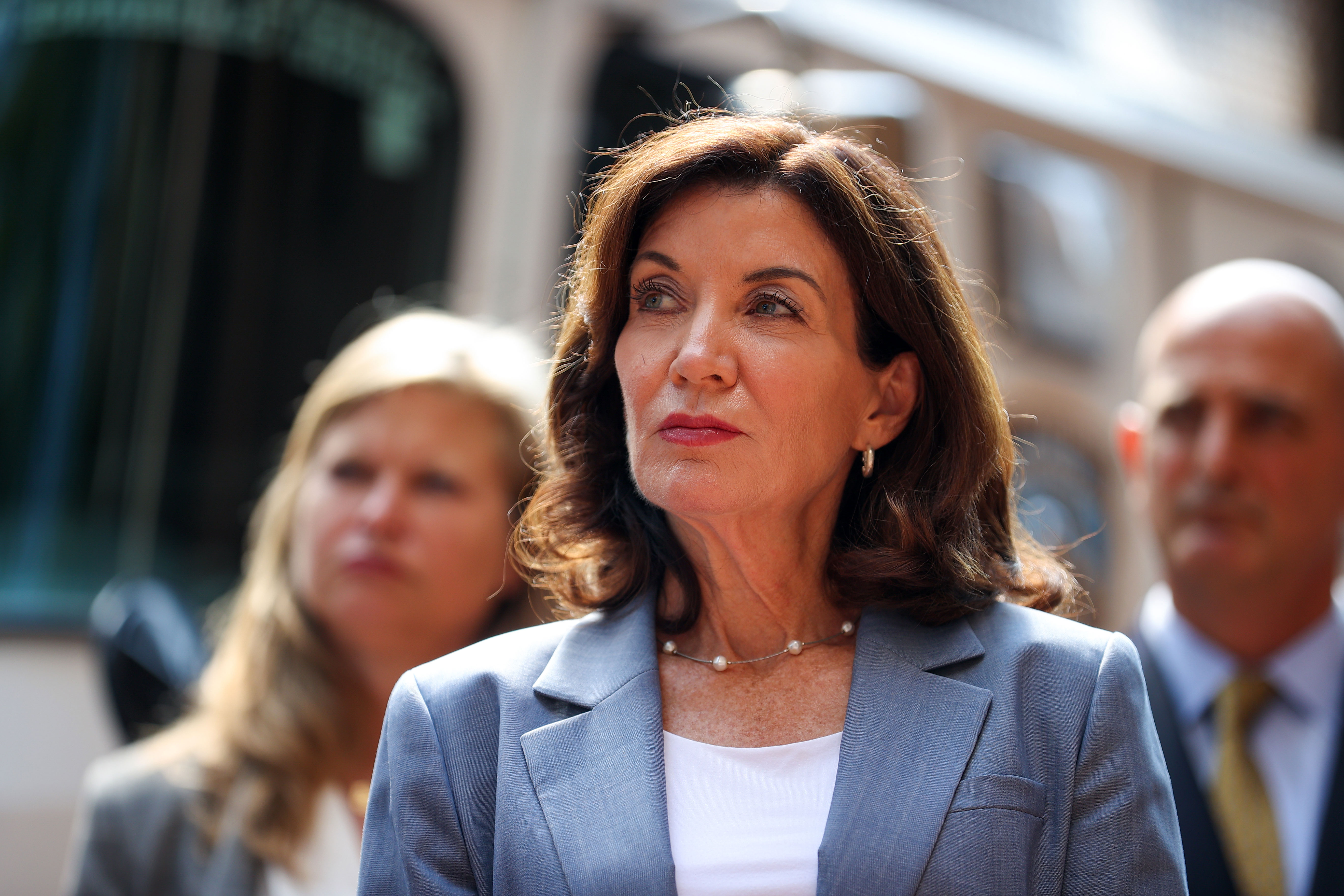 New York Gov. Kathy Hochul attends a 9/11 security briefing at One Police Plaza in New York on September 10.