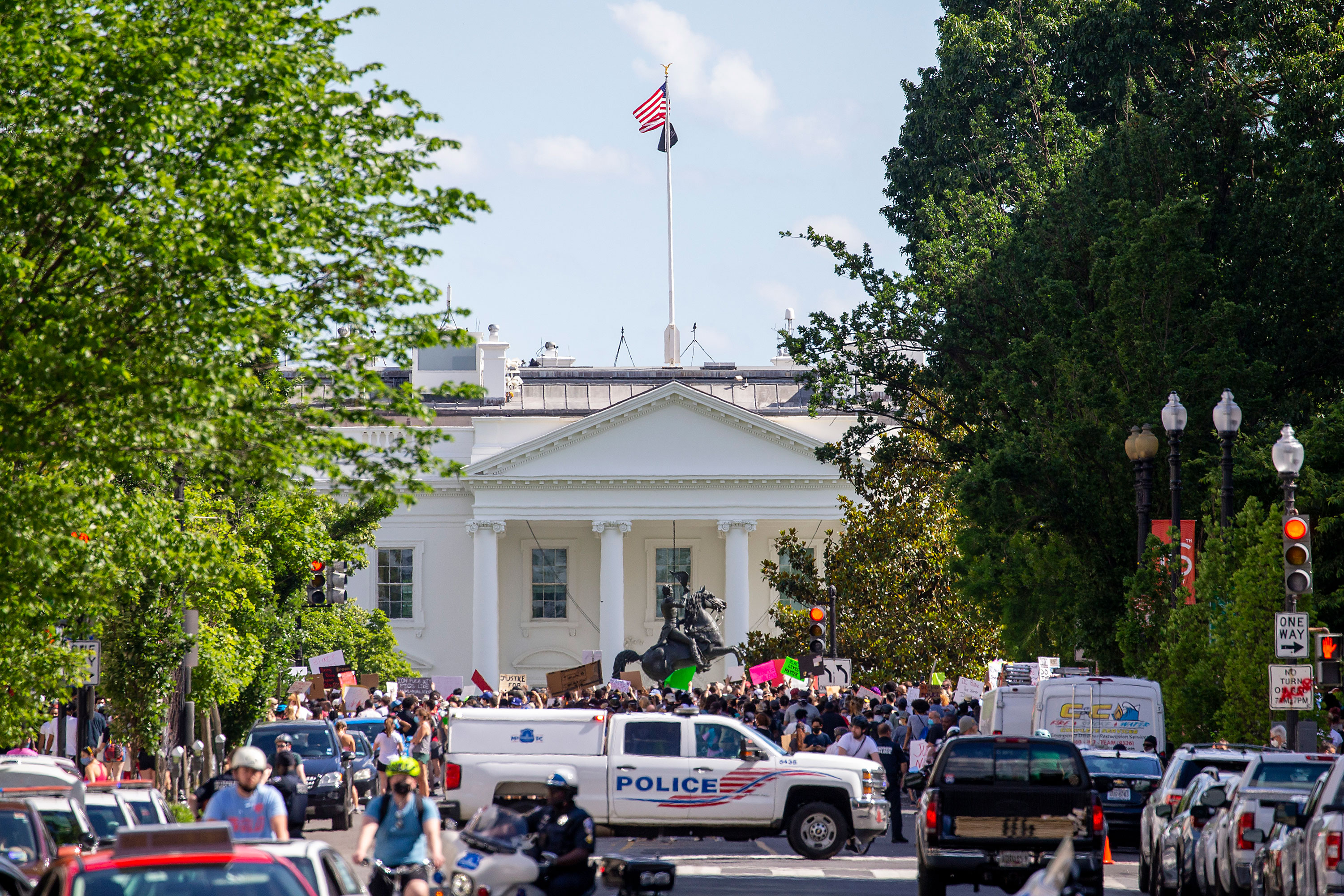 Protesters gather at Lafayette Square Park outside the White House on May 31 in Washington.
