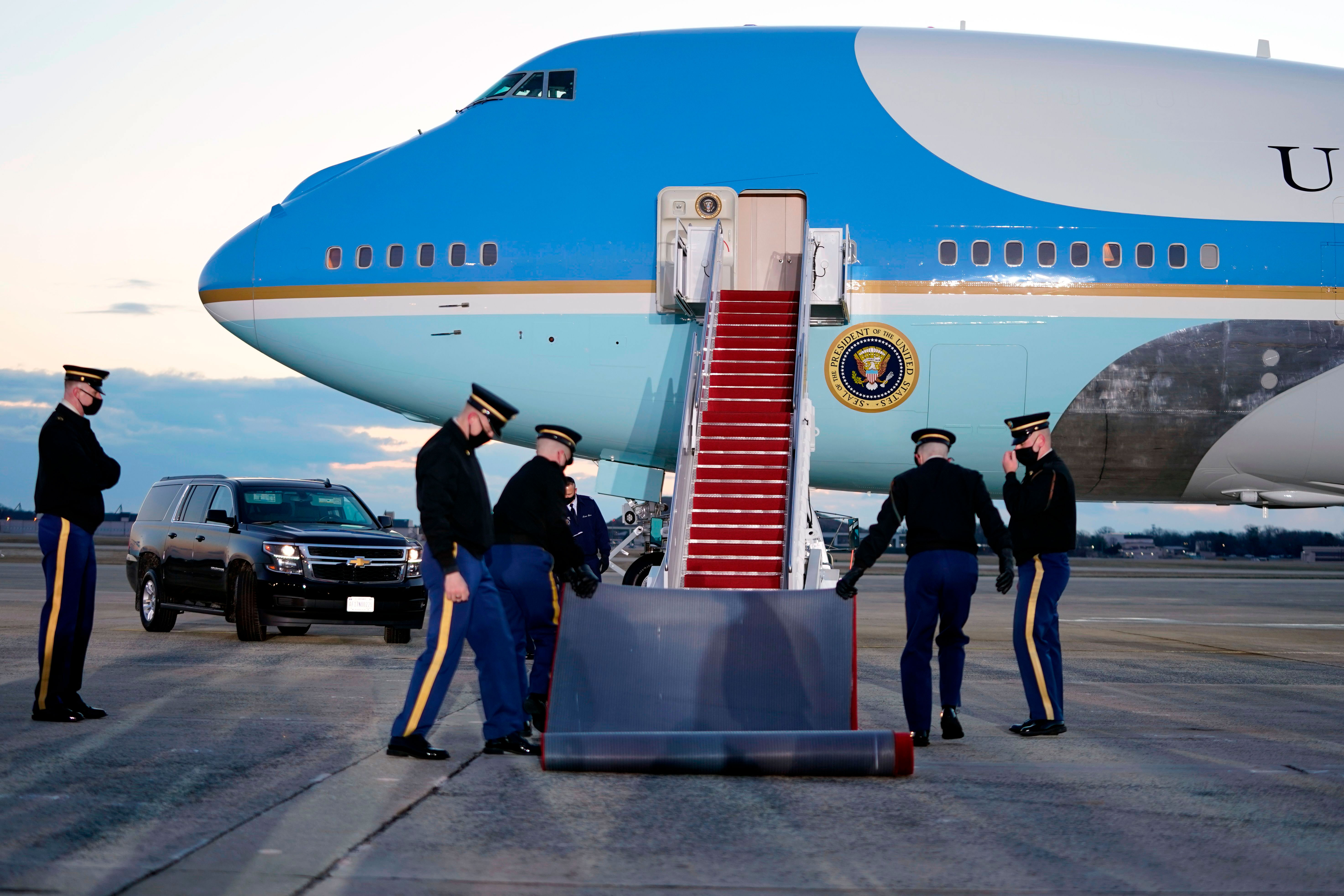 Preparations are made at Joint Base Andrews in Maryland for the departure President Donald Trump on January 20.