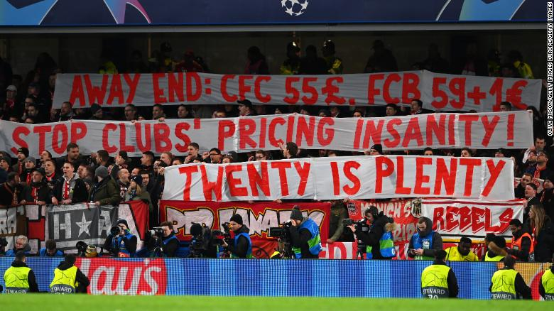 Bayern Munich fans protest Champions League ticket prices.