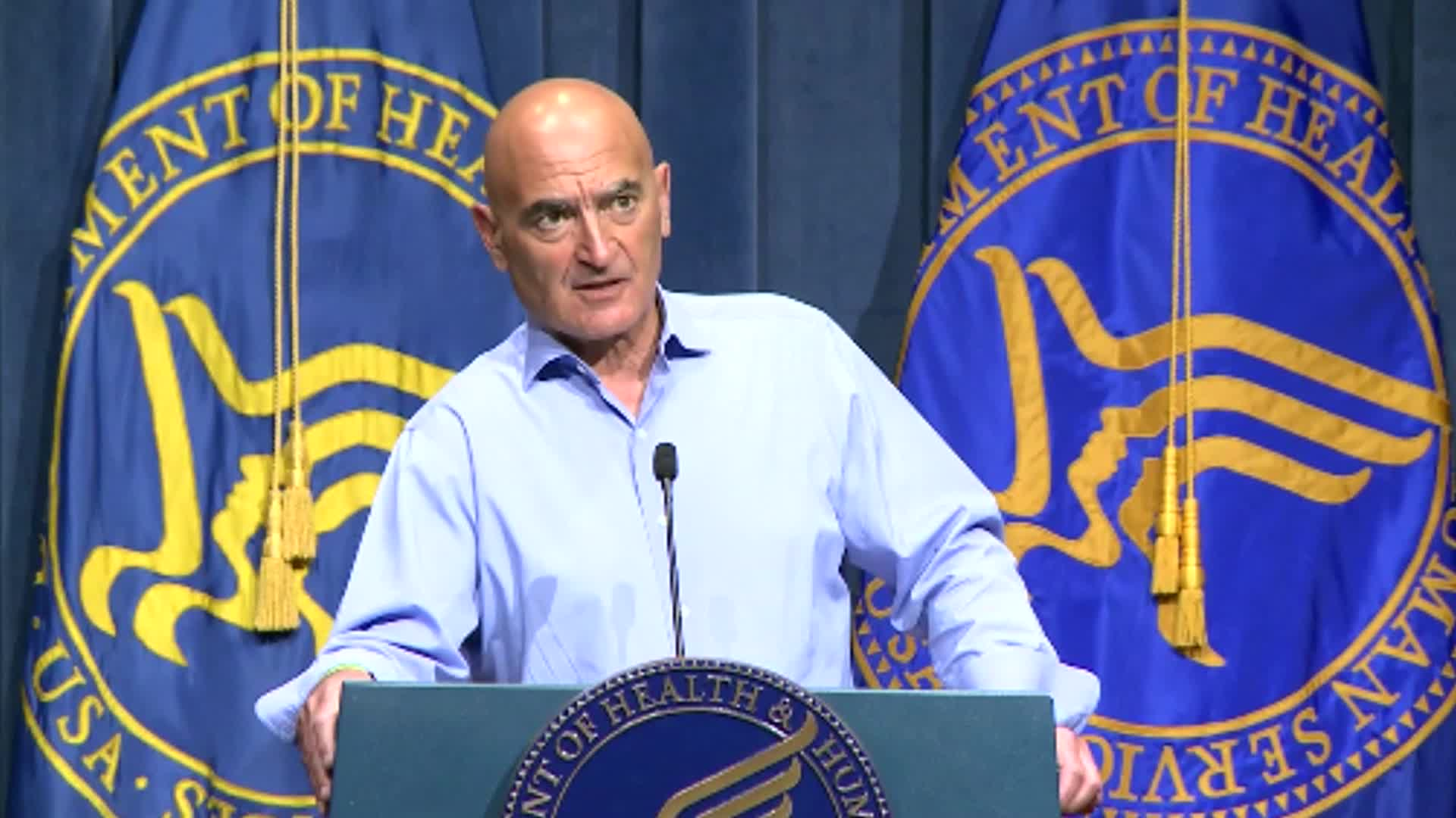 Operation Warp Speed's chief adviser Moncef Slaoui speaks during a briefing on January 12.