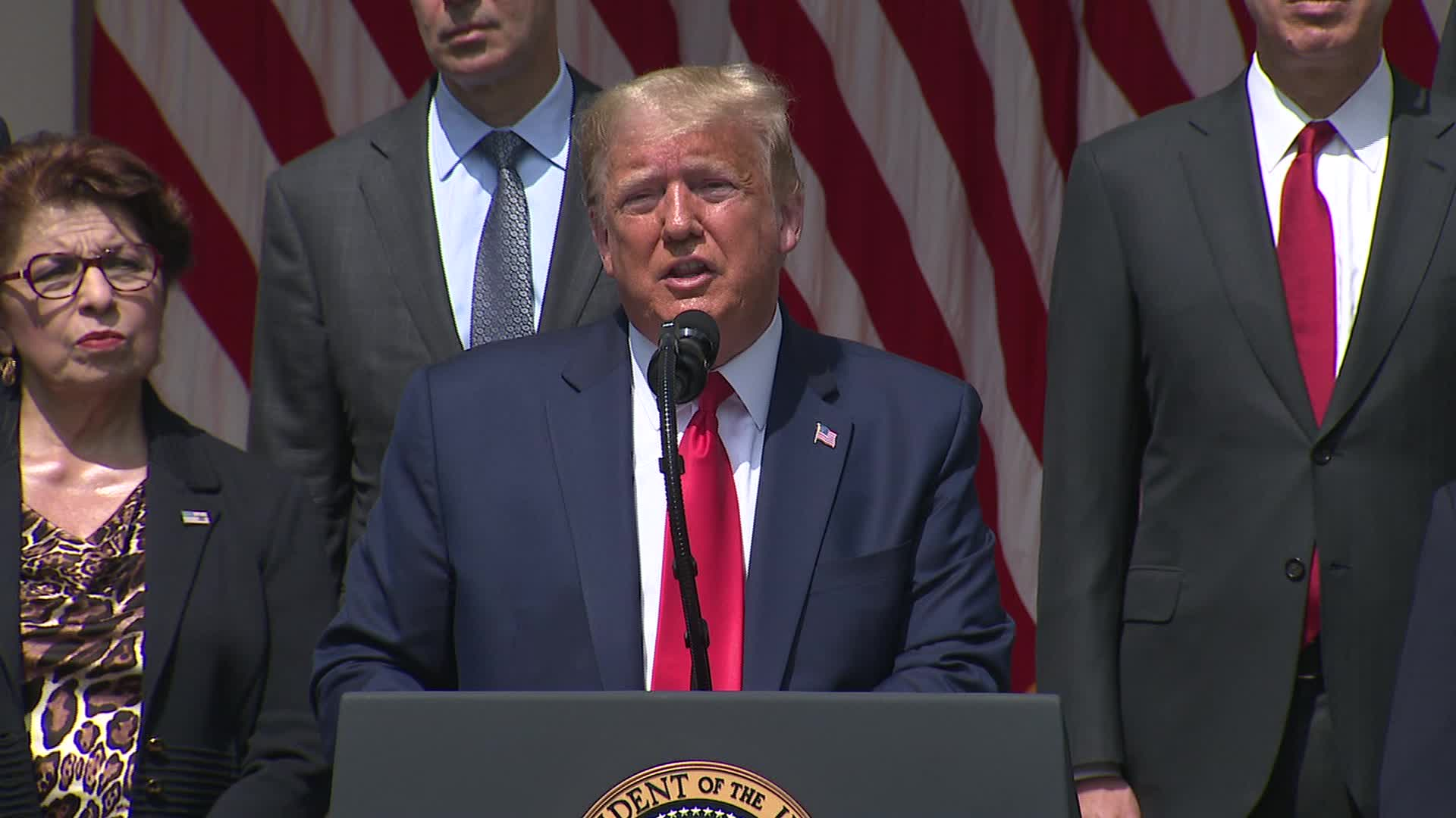 President Trump speaks at a news conference at the White House in Washington, on June 5.