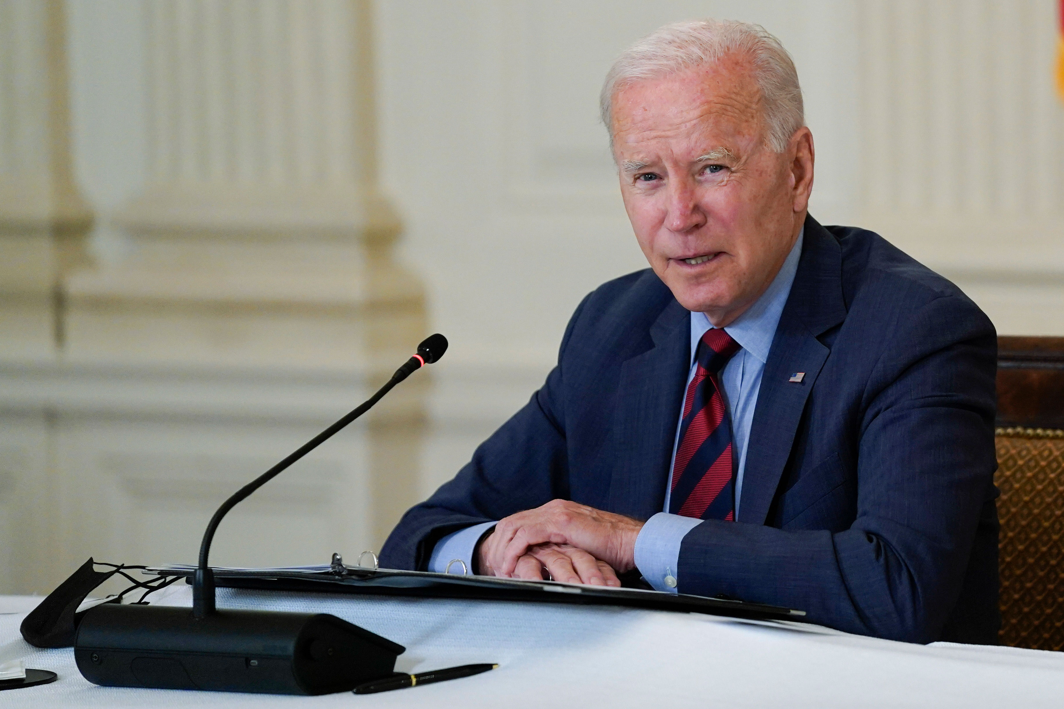 President Joe Biden speaks in the State Dining Room of the White House, on Tuesday, August 3.