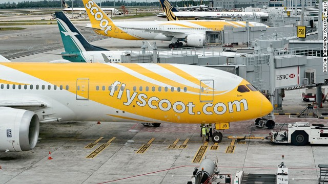 Scoot planes at the Changi International Airport terminal in Singapore.