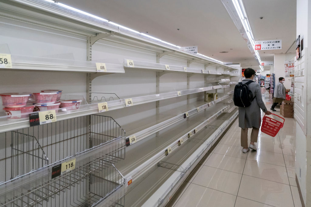 Empty shelves in a supermarket on Thursday in Tokyo, Japan.