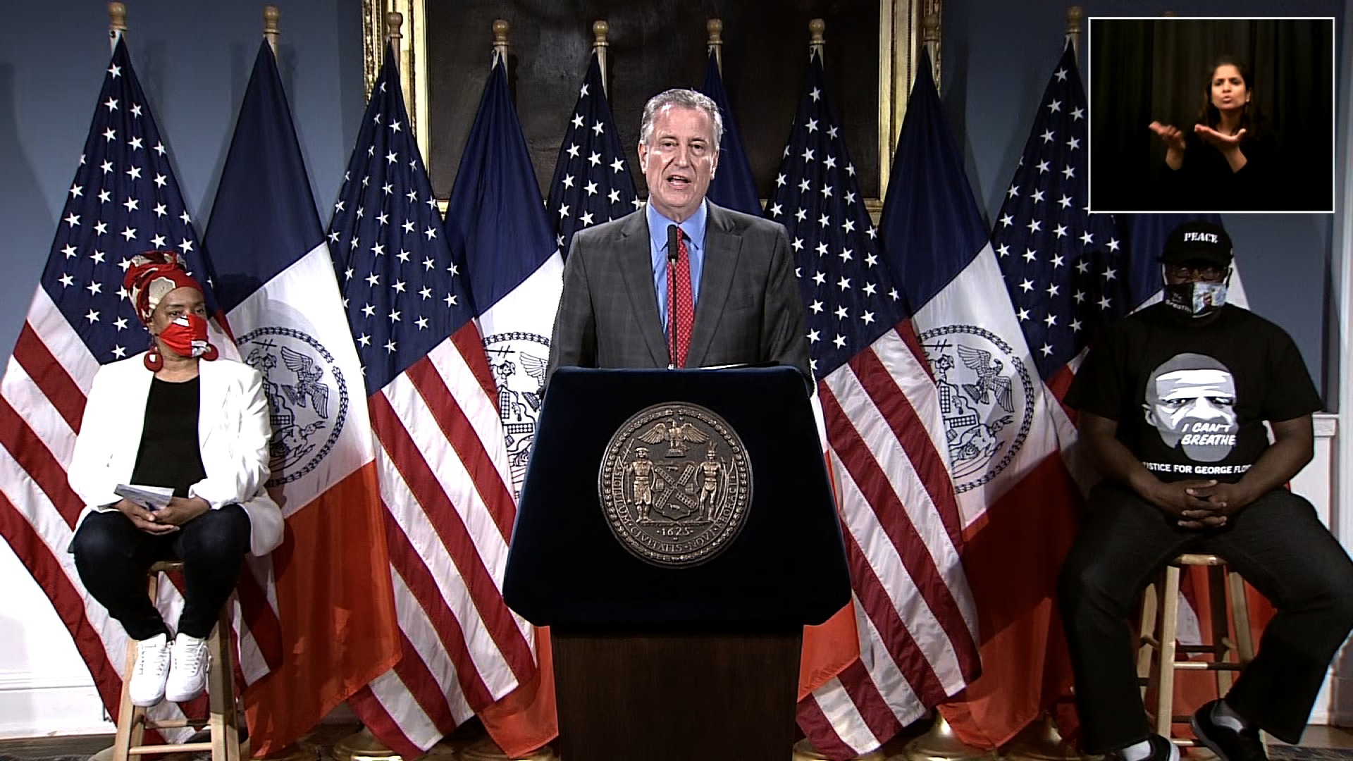 New York City Mayor Bill de Blasio speaks during a press conference in New York on June 9.