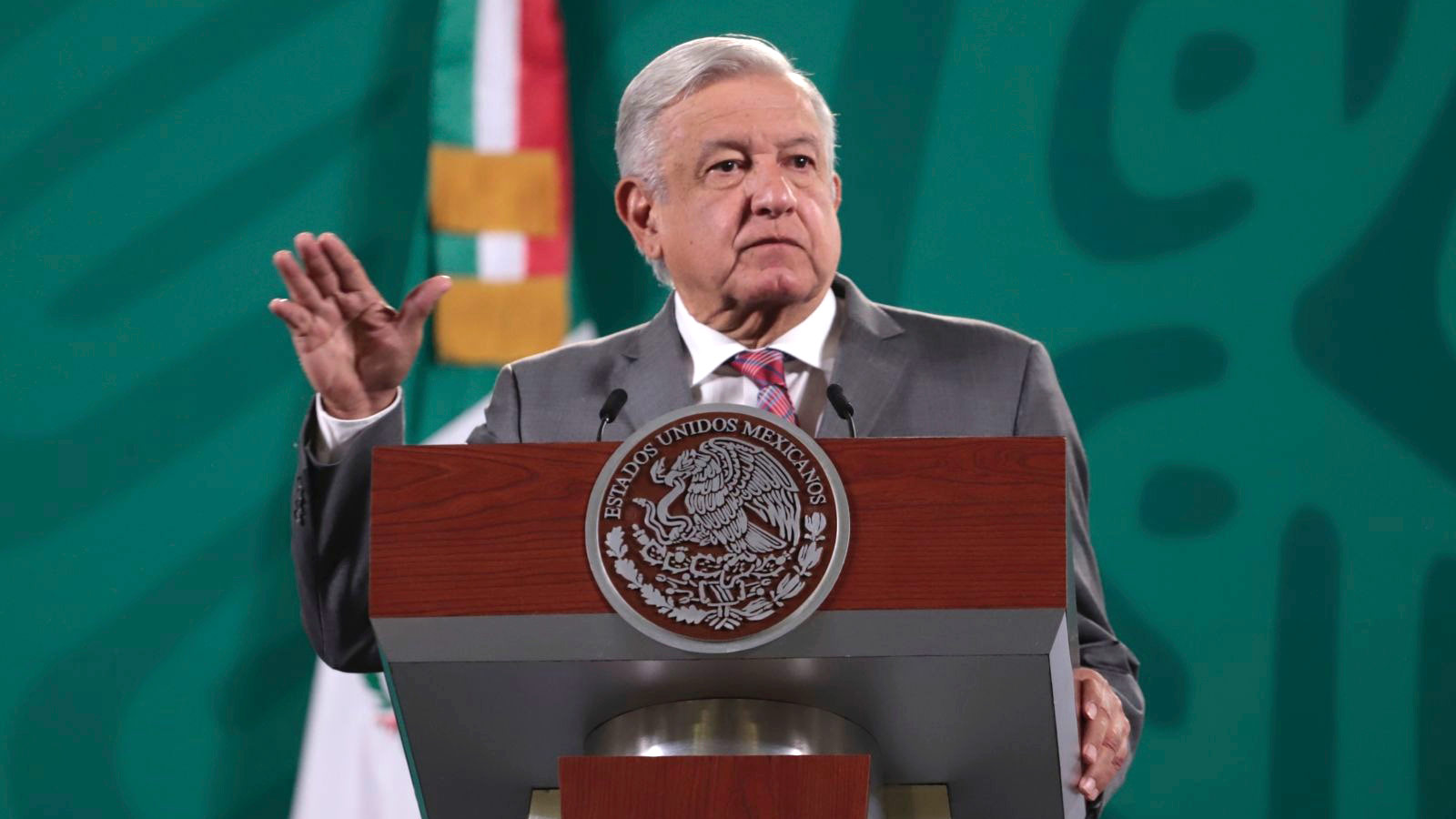 Mexico's President Andrés Manuel López Obrador speaks during a news conference on April 26, in Mexico City.