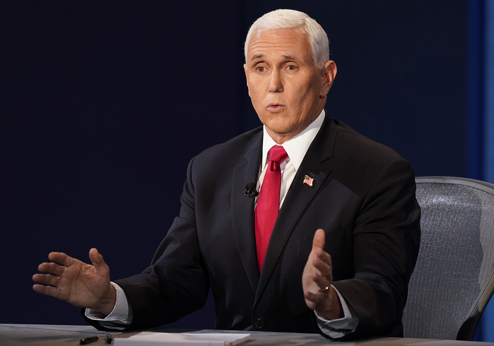 Vice President Mike Pence responds to a question during the vice presidential debate with Democratic vice presidential candidate Sen. Kamala Harris on Wednesday in Salt Lake City.
