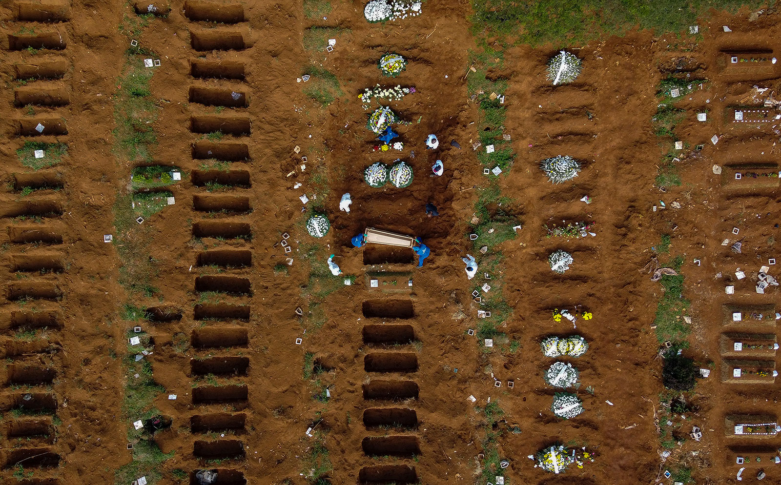 An aerial view of a burial at Vila Formosa cemetery in Sao Paulo, Brazil, on April 1.