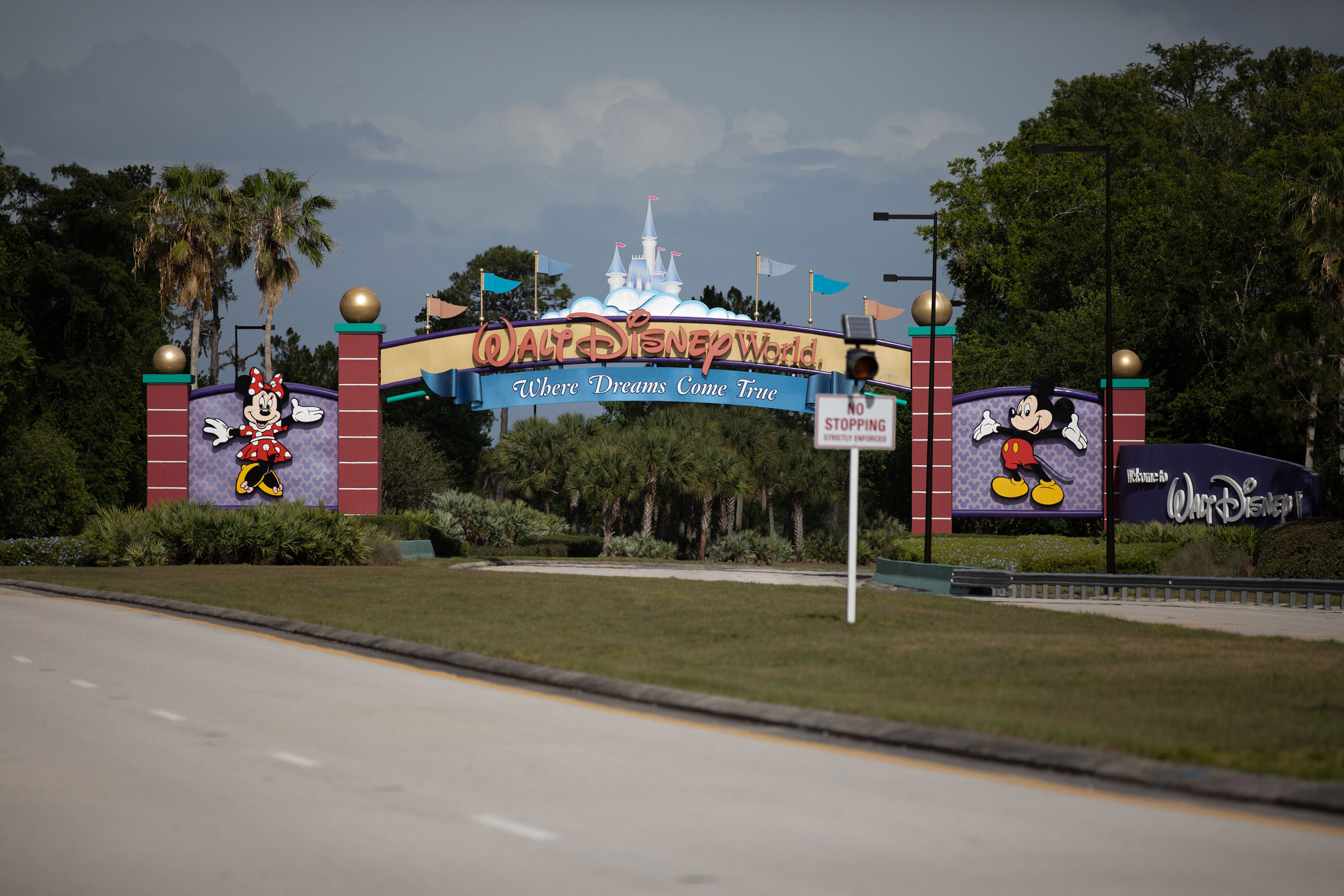The entrance to Walt Disney World in Orlando is seen empty on May 15.