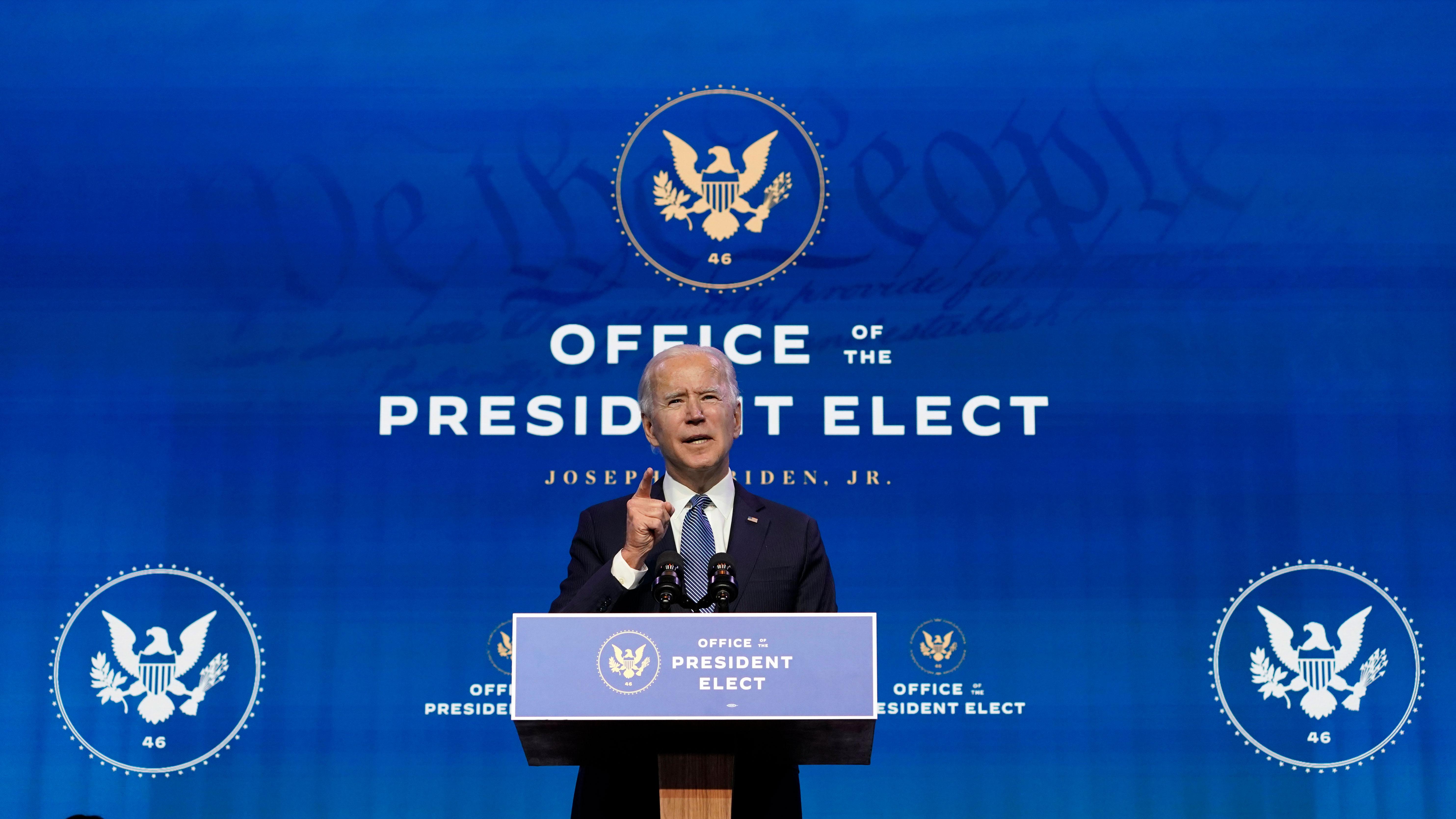 President-elect Joe Biden speaks in Wilmington, Delaware, on January 7.