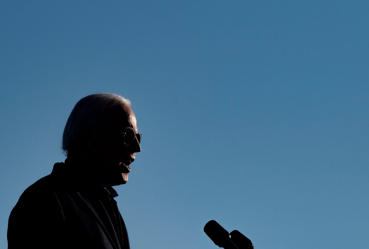 Joe Biden speaks at a drive-in campaign event at the Minnesota State Fairgrounds in St. Paul, Minnesota, on October 30.