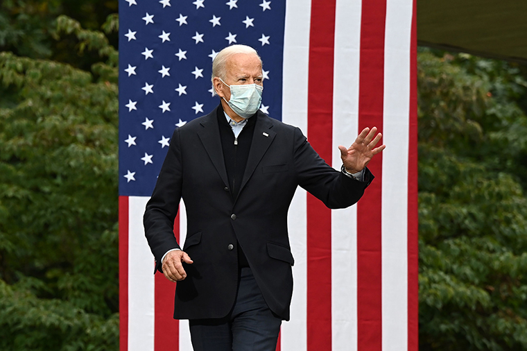 Joe Biden arrives to speak at a campaign event at United Food and Commercial Workers Union Local 951 in Grand Rapids, Michigan on October 2, 2020.