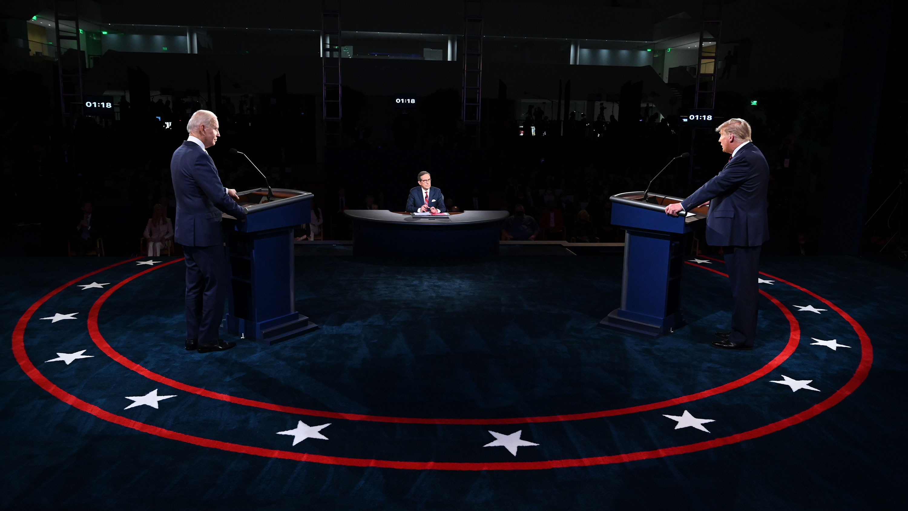 President Donald Trump and Democratic presidential nominee Joe Biden participate in the first presidential debate on September 29 in Cleveland, Ohio.