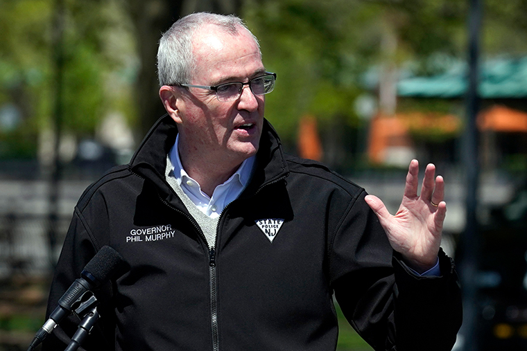 New Jersey Governor Phil Murphy speaks during a news conference in Hoboken, N.J., on May 6, 2021.