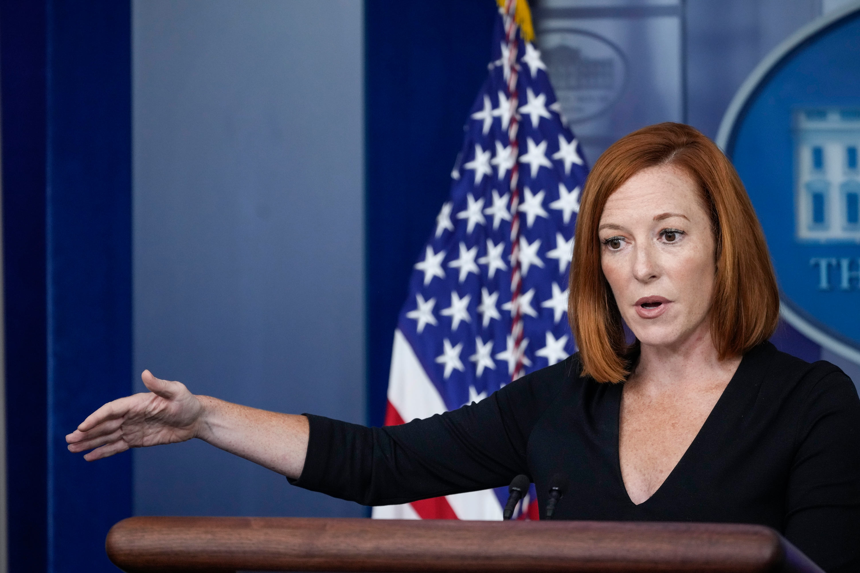 White House Press Secretary Jen Psaki speaks to reporters during the daily press briefing at the White House on August 27 in Washington, DC.