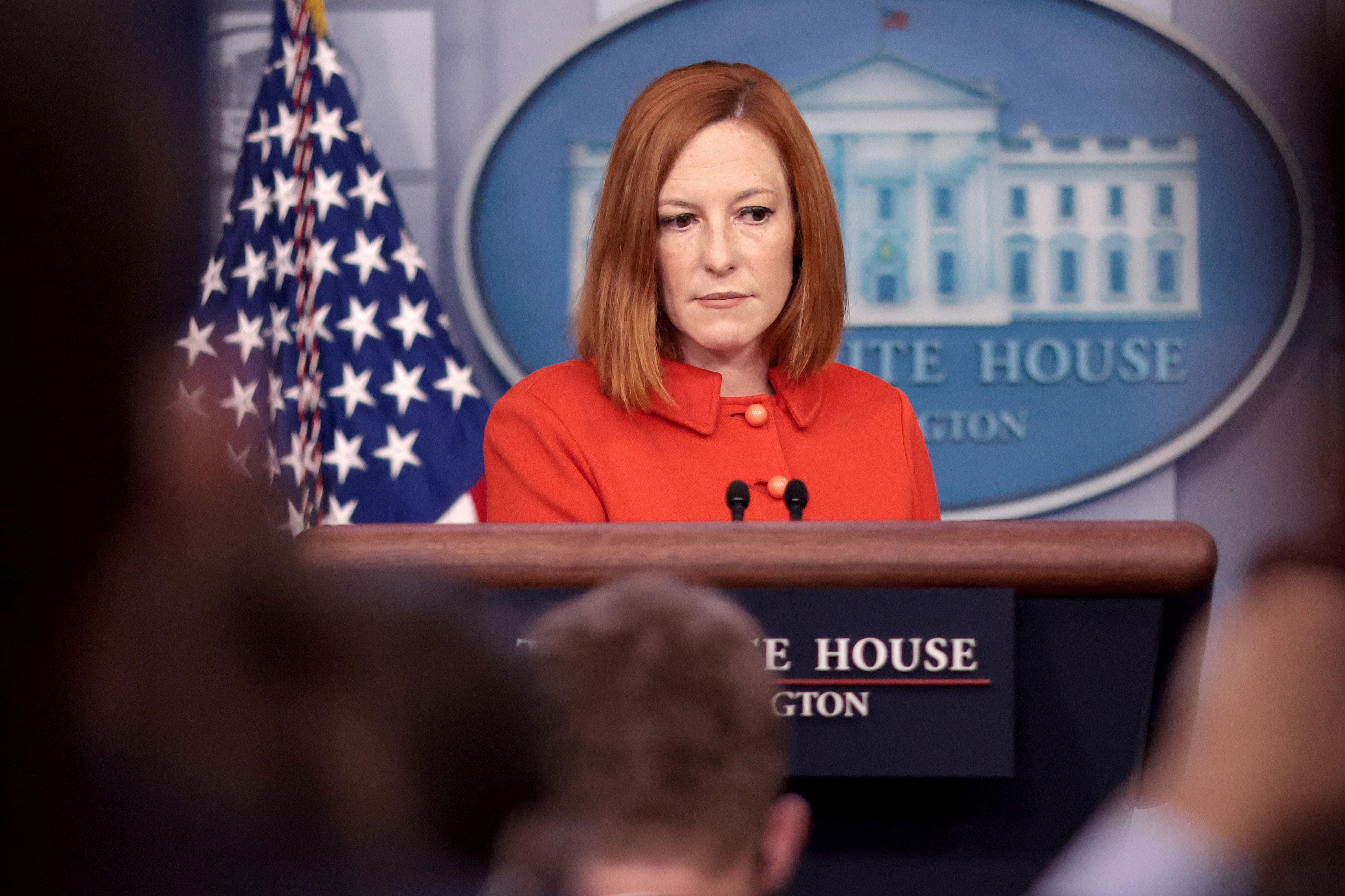 White House press secretary Jen Psaki holds a briefing in Washington, DC, on September 15.