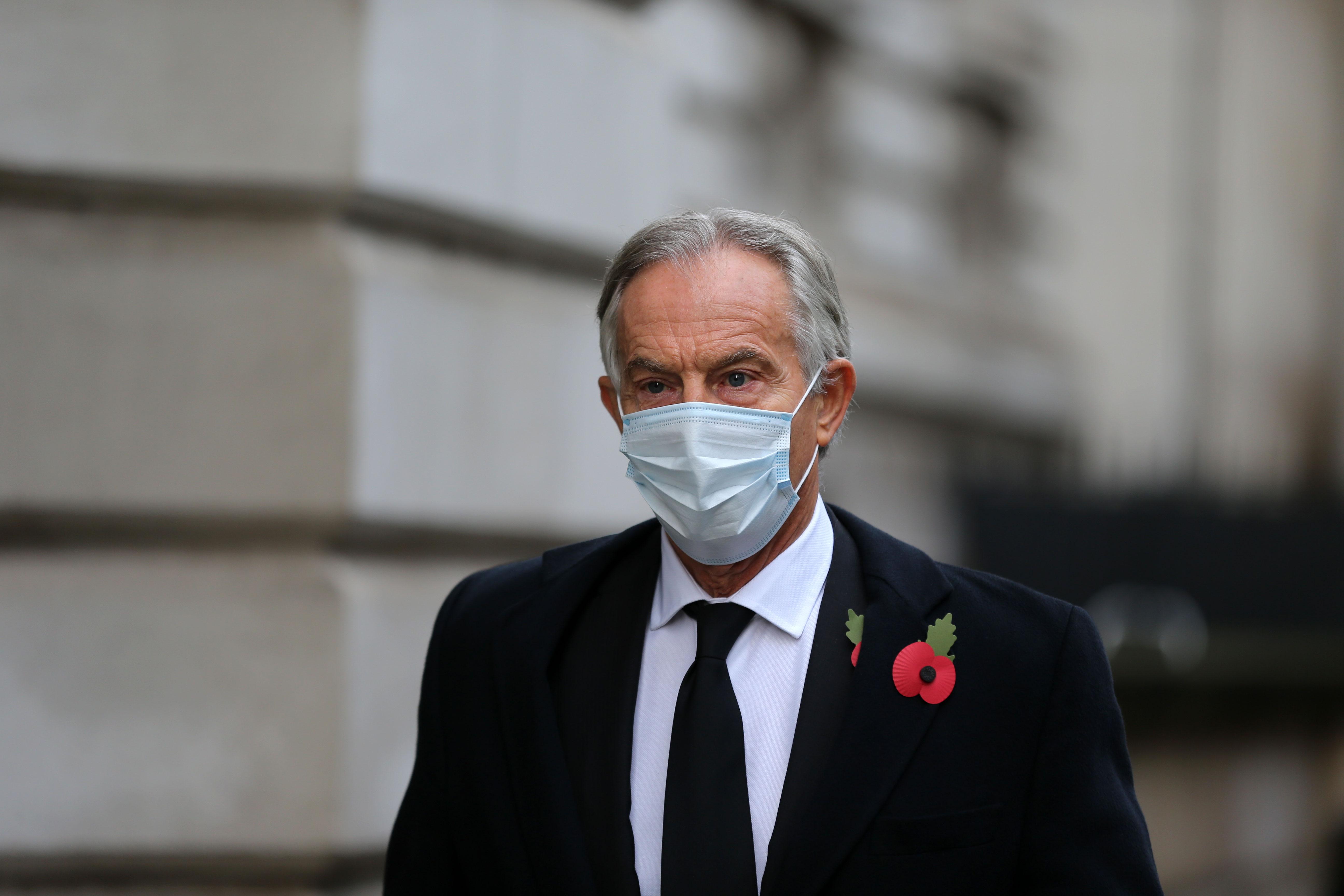 Former UK Prime Minister Tony Blair arrives at Downing Street in London on November 8, 2020.