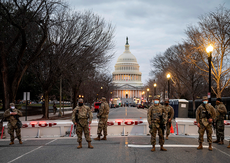 Members of the US National Guard at the US Capitol in Washington, DC on January 17, 2021.