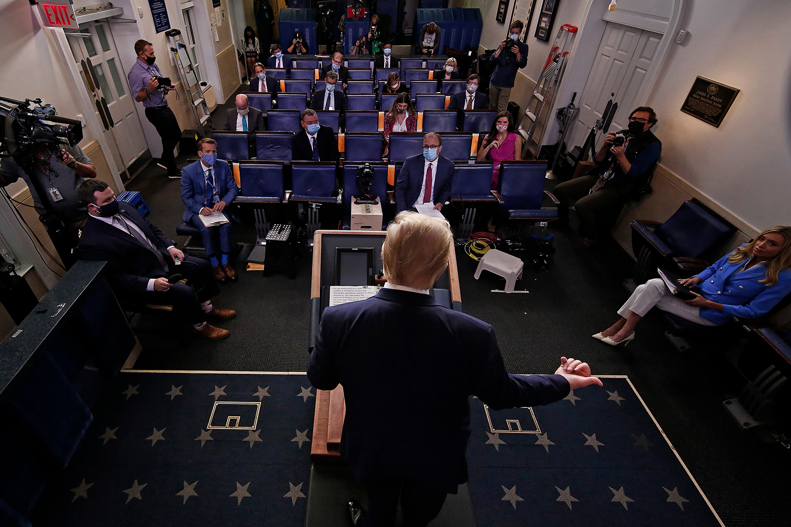 President Donald Trump talks to journalists during a news conference in at the White House in Washington, DC on July 22.