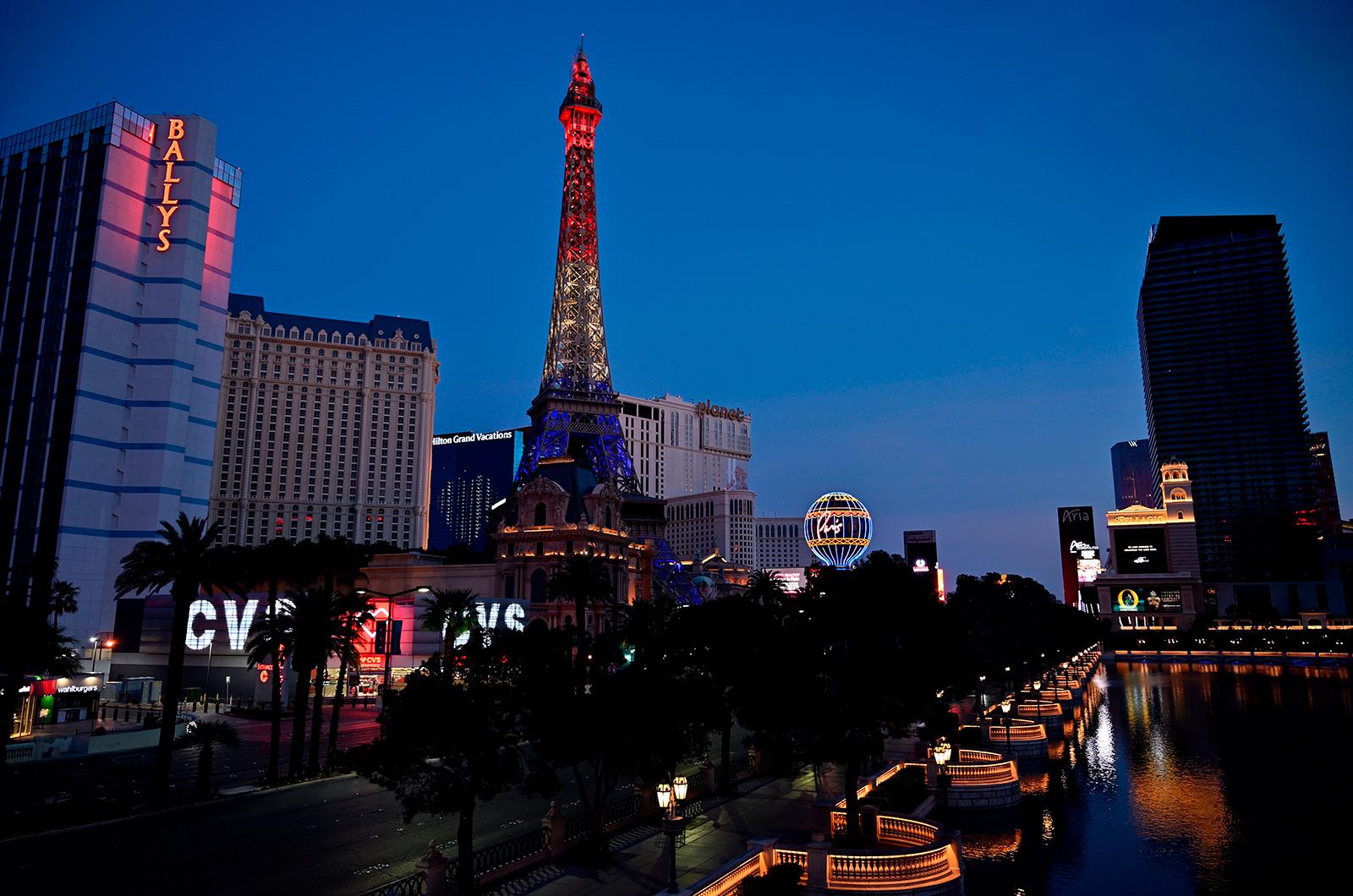The Las Vegas Strip is seen devoid of traffic on April 27, in Las Vegas, Nevada.