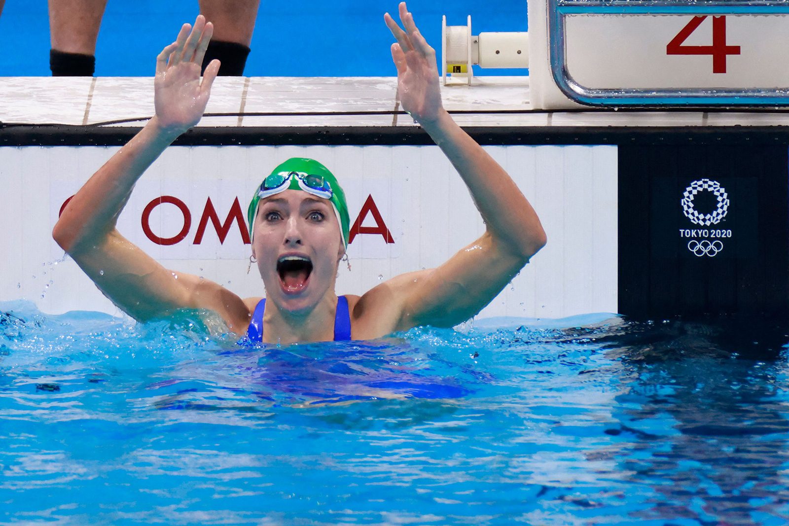 South Africa's Tatjana Schoenmaker reacts after winning the final of the 200-meter breaststroke event to set a new world record on Friday in Japan.