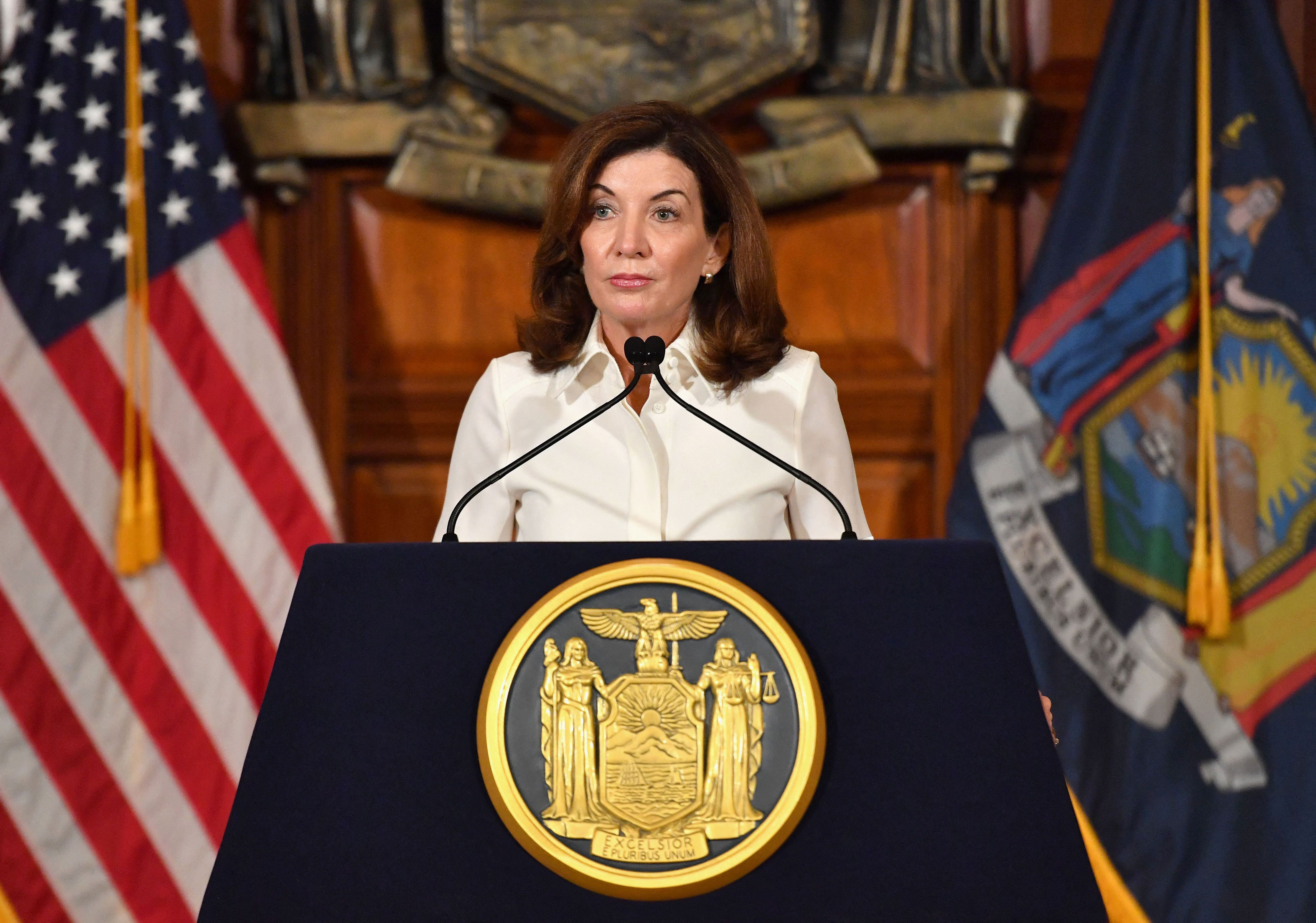 New York Gov. Kathy Hochul speaks during her swearing-in ceremony at the New York State Capitol in Albany on August 24.