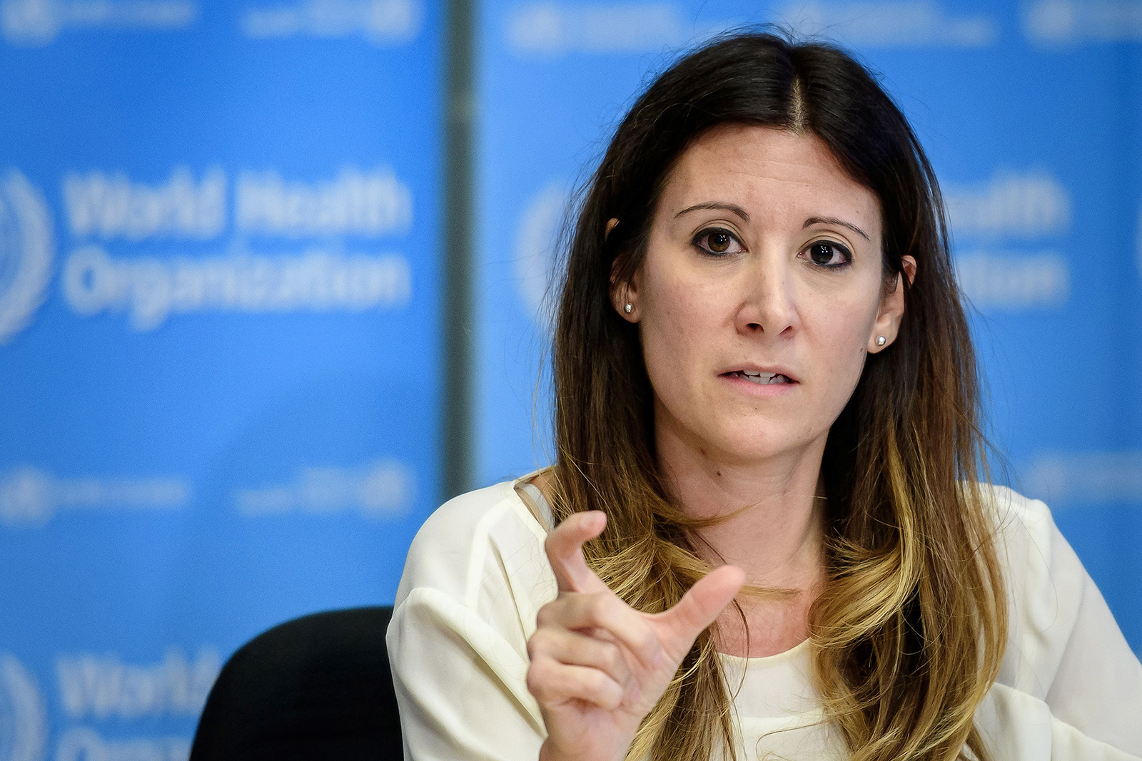 World Health Organization (WHO) Technical Lead Maria Van Kerkhove speaks during a daily press briefing at the WHO headquaters in Geneva, Switzerland on March 9.