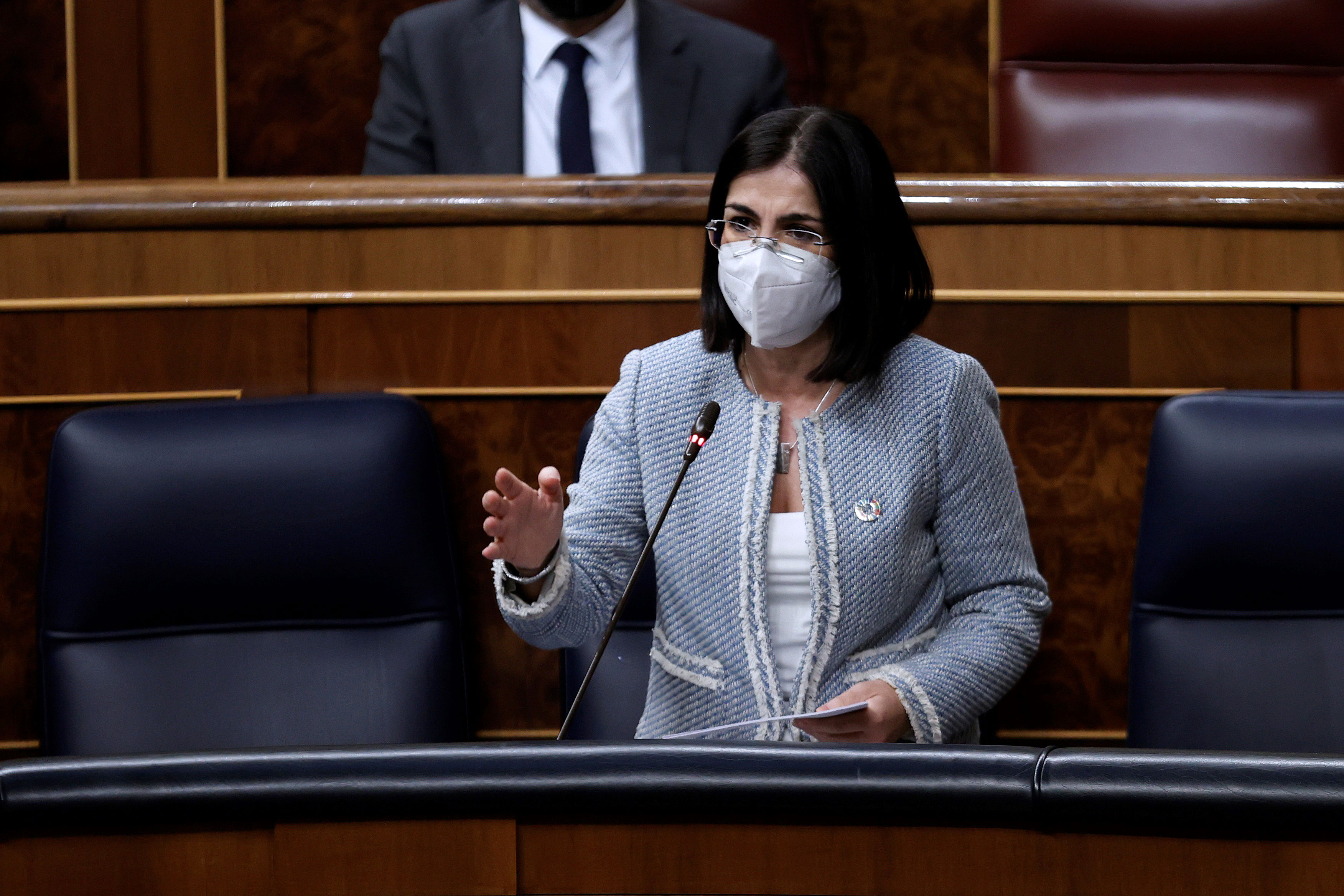 Spain's Health Minister Carolina Darias speaks during a government session in Madrid on February 3.