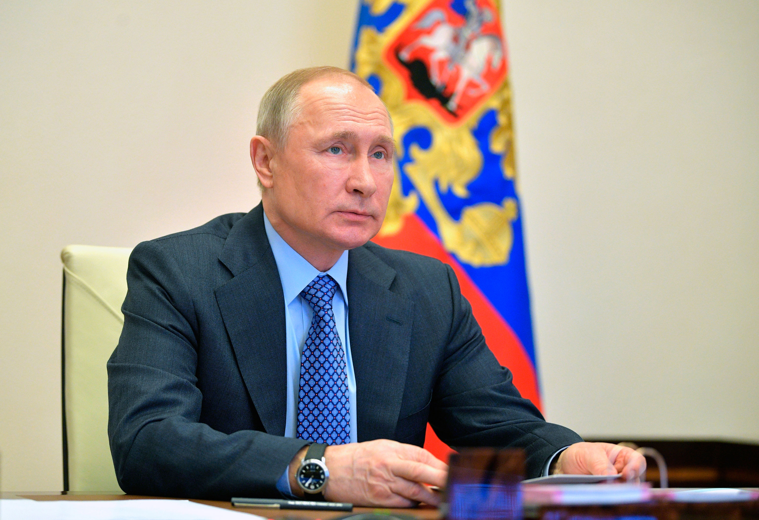 Russian President Vladimir Putin attends a video conference at the Novo-Ogaryovo residence outside Moscow, Russia, on April 14.