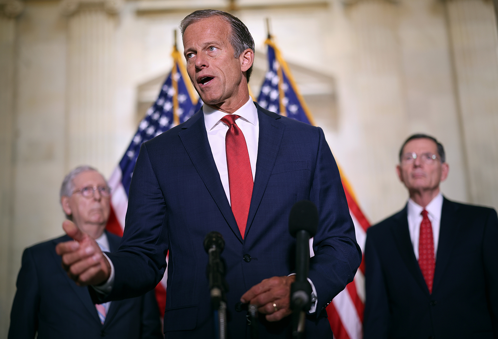 Senator John Thune speaks to reporters following the weekly Republican policy luncheons on Capitol Hill on May 25, in Washington, DC.