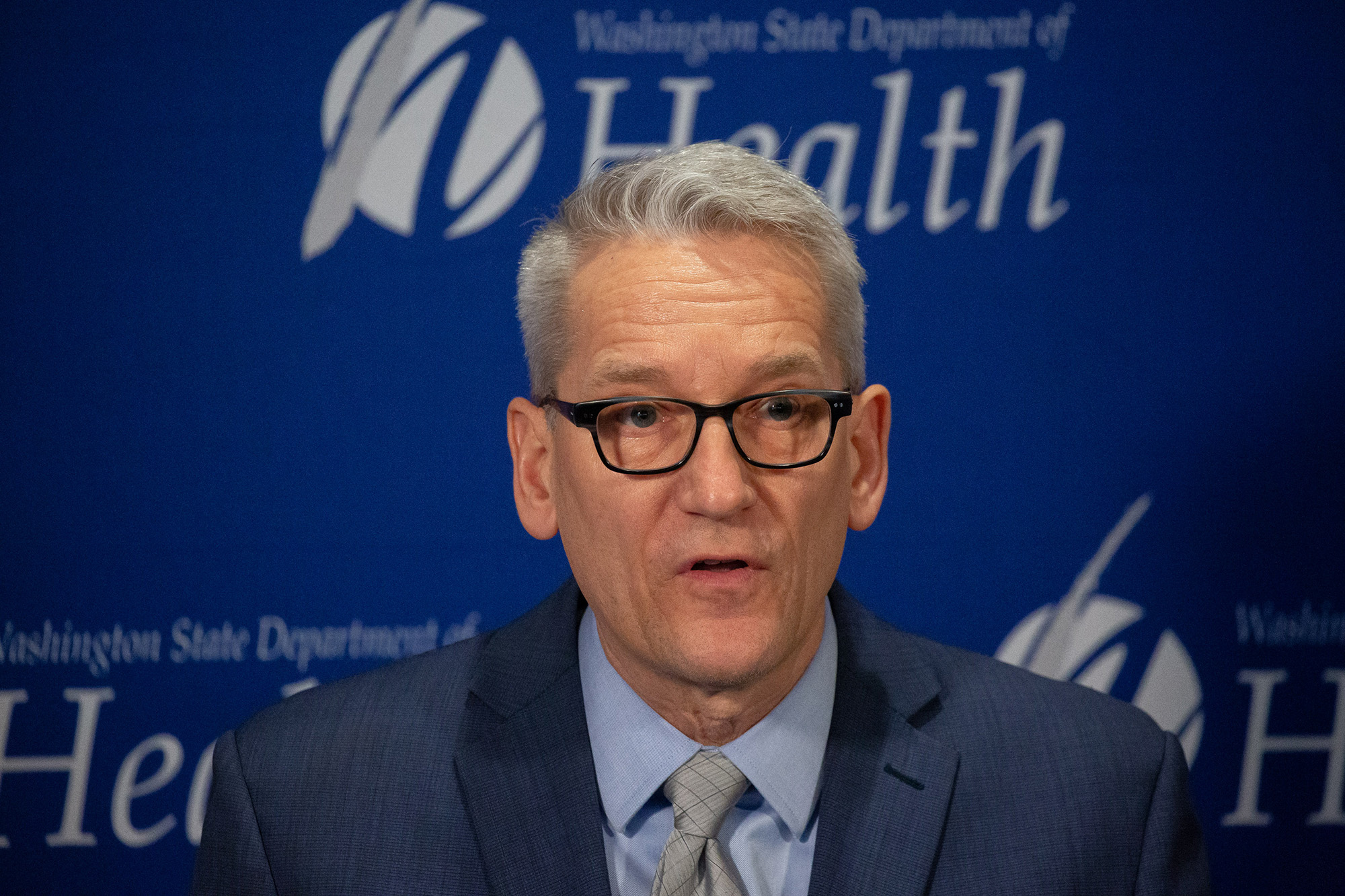 Washington state Secretary of Health John Wiesman speaks during a press conference on January 21, in Shoreline, Washington.