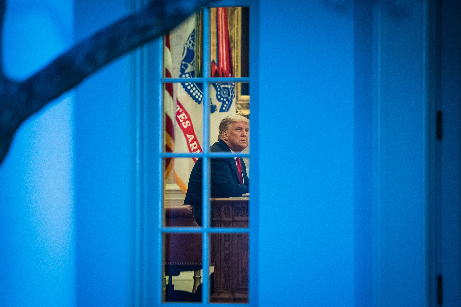 President Trump is seen inside the Oval Office at the White House on November 13.