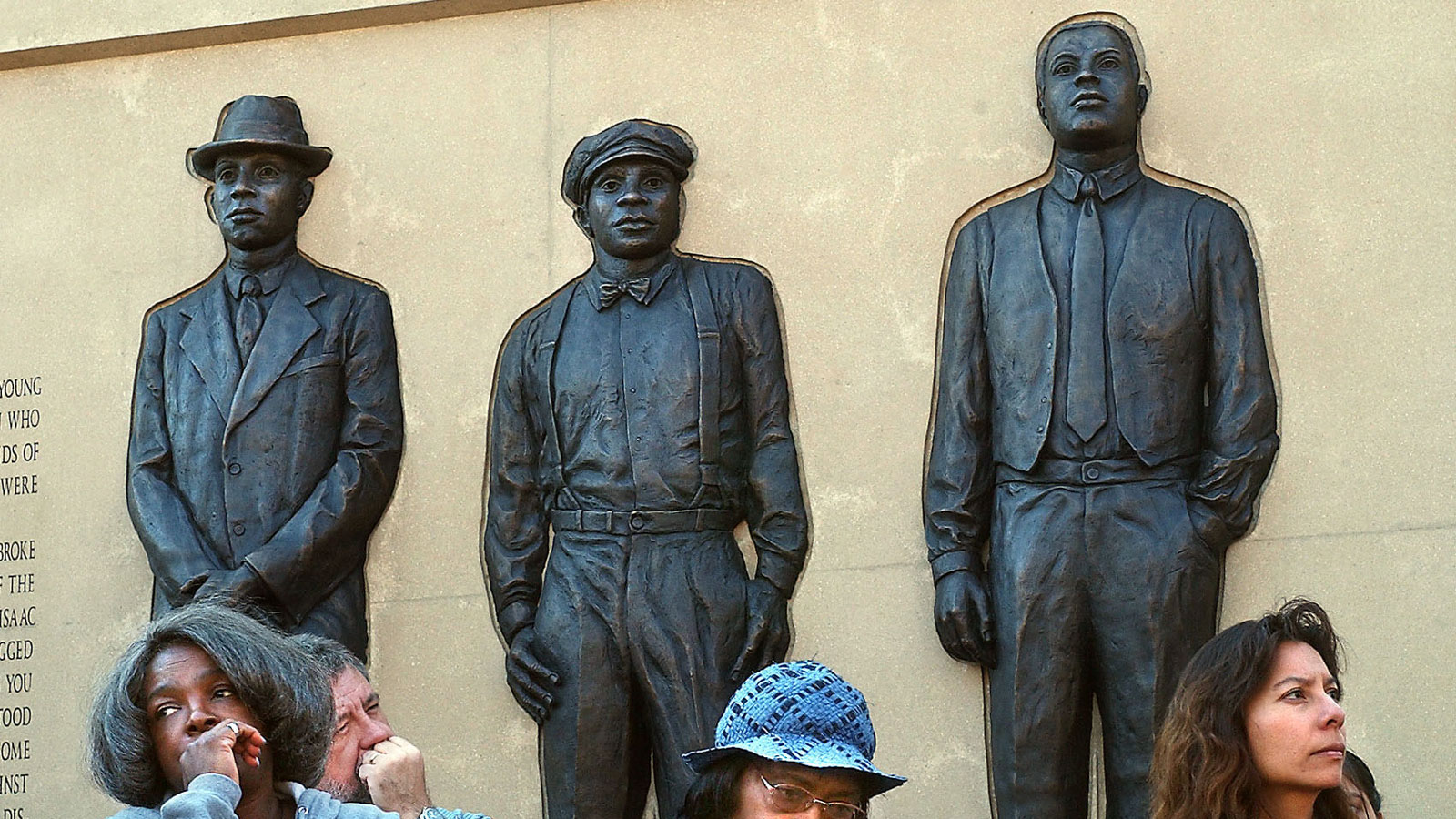 The bronze figures of Elias Clayton, Elmer Jackson and Isaac McGhie, three black circus workers who were lynched the night of June 15, 1920.