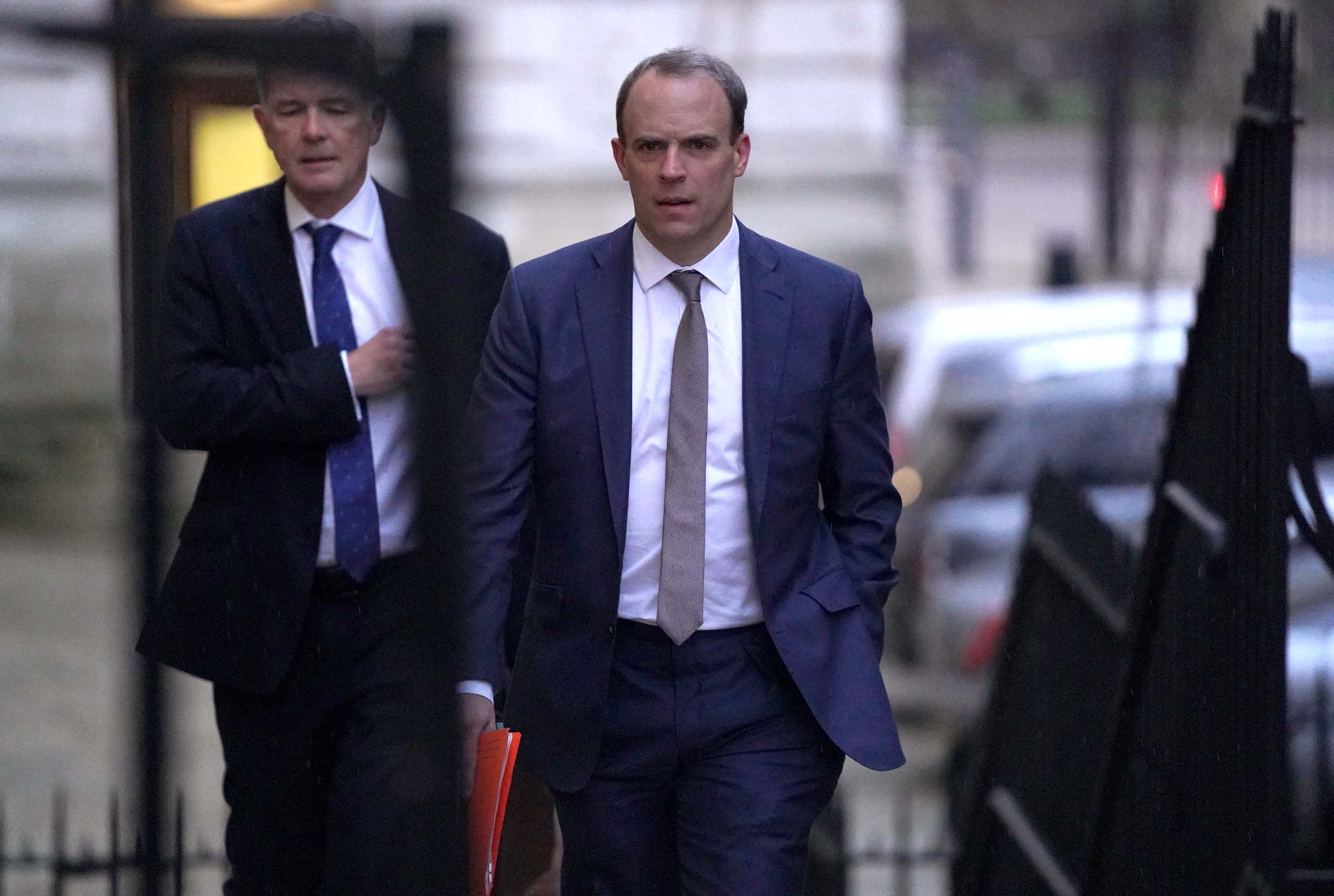 UK Foreign Secretary Dominic Raab arrives to meet with Prime Minister Boris Johnson on January 6 in London, England. Credit: Peter Summers/Getty Images