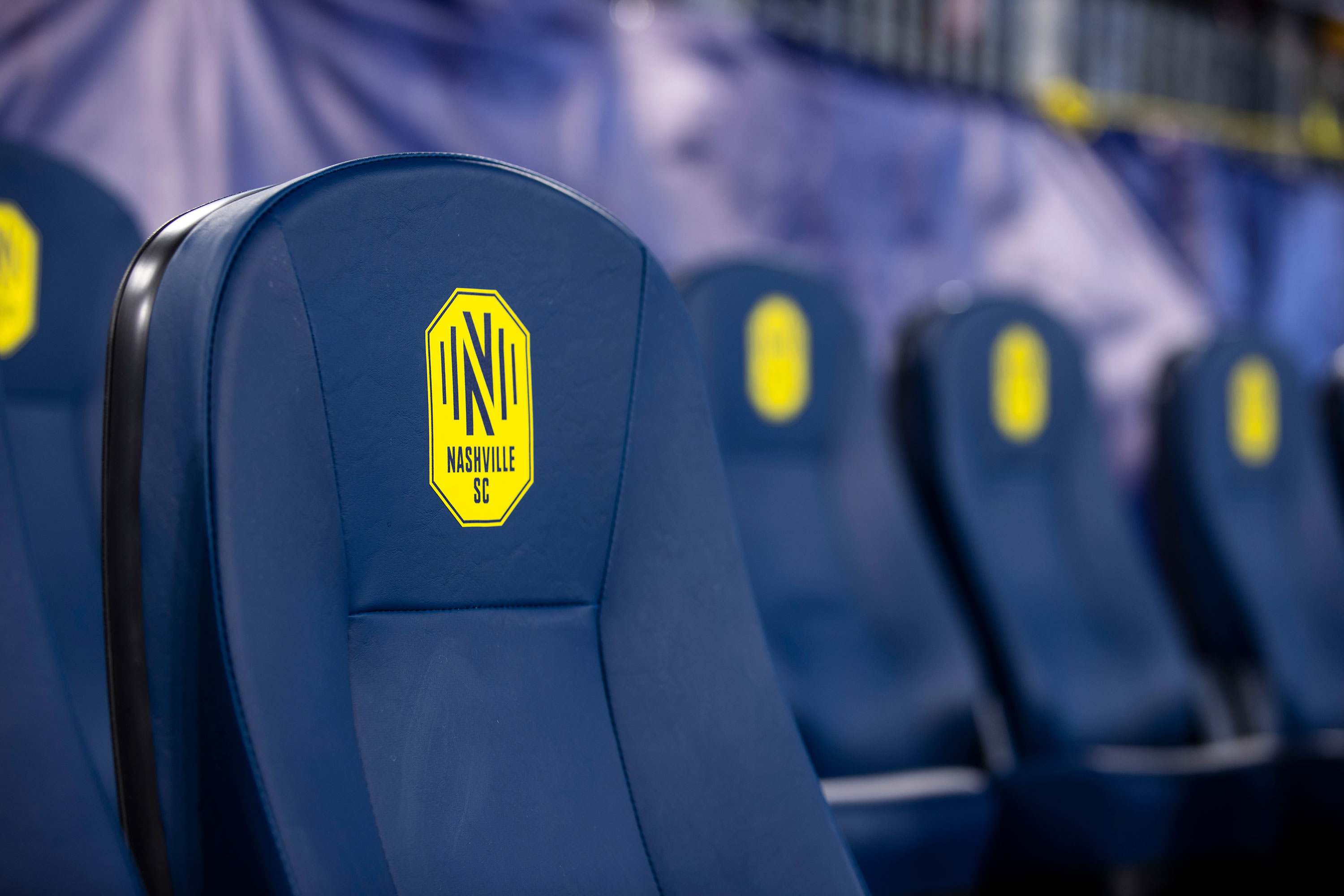 Empty player seats are seen before the match against between Nashville SC and Atlanta United on February 29 in Nashville, Tennessee.
