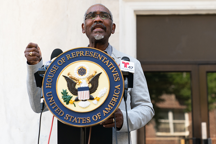 Representative Gregory Meeks, a Democrat from New York, speaks during a news conference in the Queens borough of New York on Tuesday, Aug. 18, 2020.