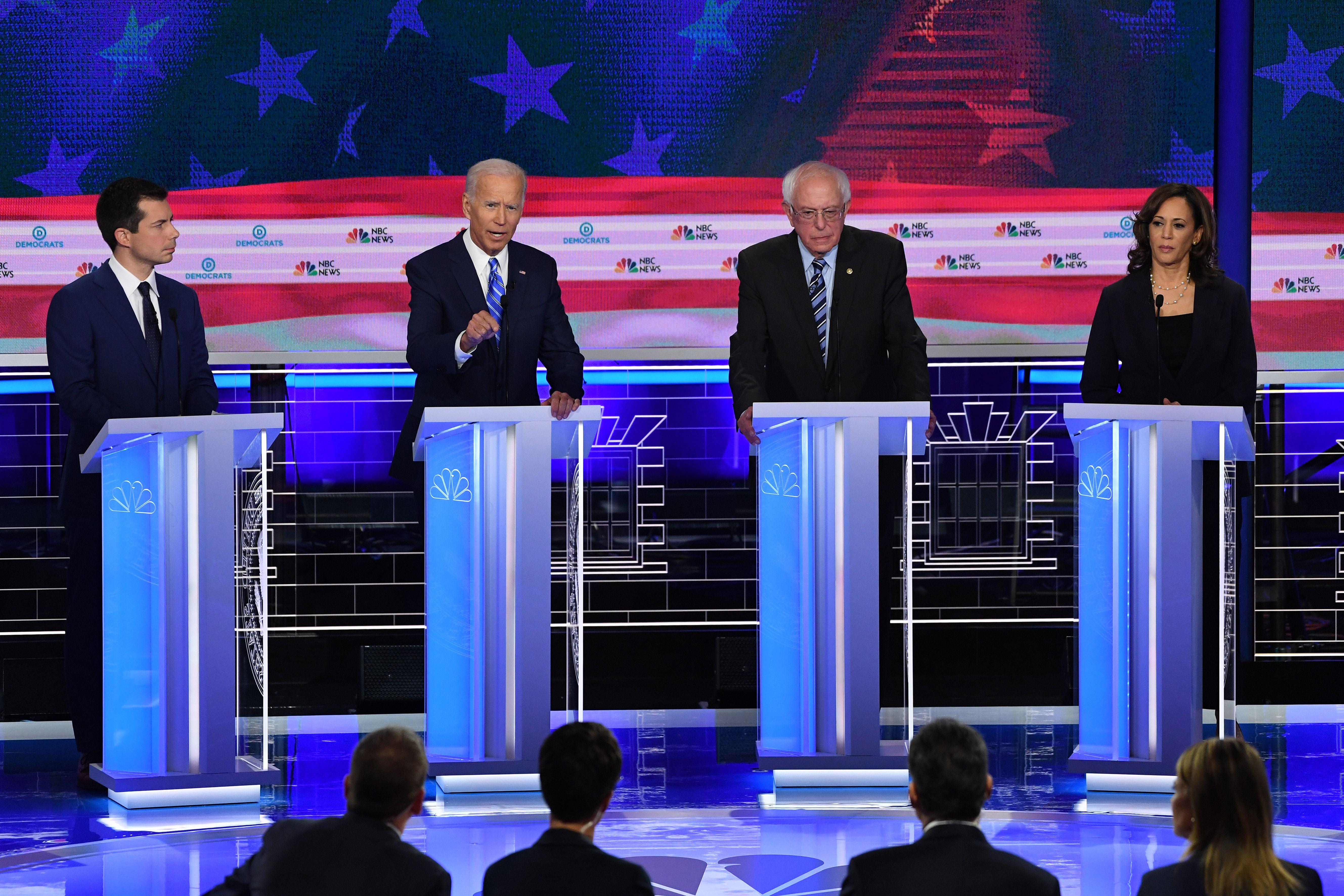 Democratic Party presidential hopefuls debate in Miami, Florida, on Thursday night.