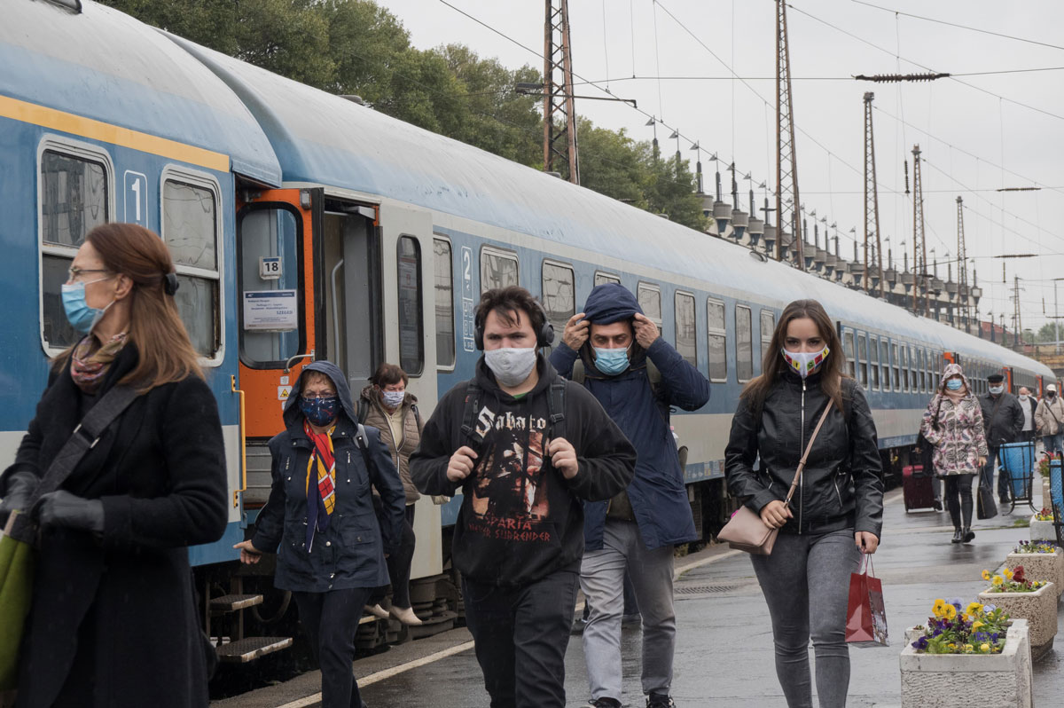 People wearing face masks at a railway station in Budapest, Hungary on October 14.
