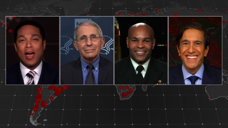 Left to right: Don Lemon, Dr. Anthony Fauci, Dr. Jerome Adams and Dr. Sanjay Gupta on CNN's town hall.