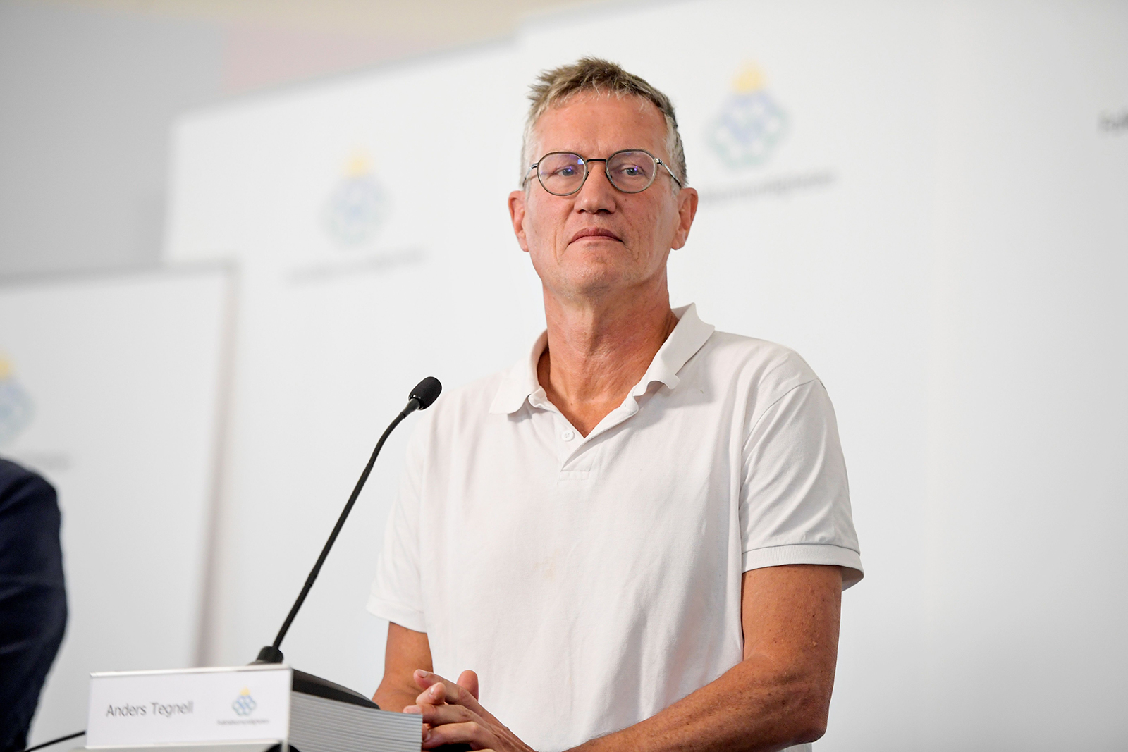 State epidemiologist Anders Tegnell of the Public Health Agency of Sweden speaks during a news conference updating on the coronavirus pandemic, in Stockholm, Sweden, on August 27.