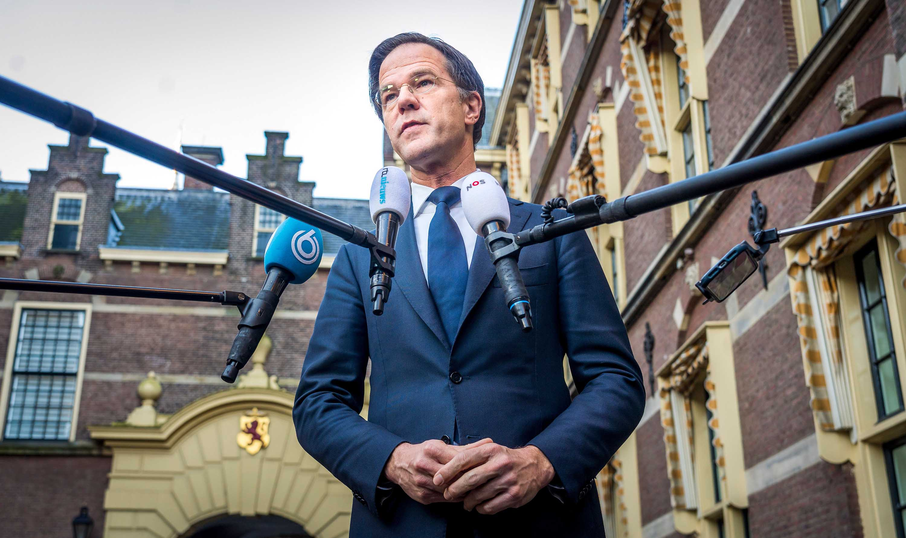 Dutch Prime Minister Mark Rutte speaks to the press about the curfew at the Ministry of General Affairs in the Hague, the Netherlands, on January 25.