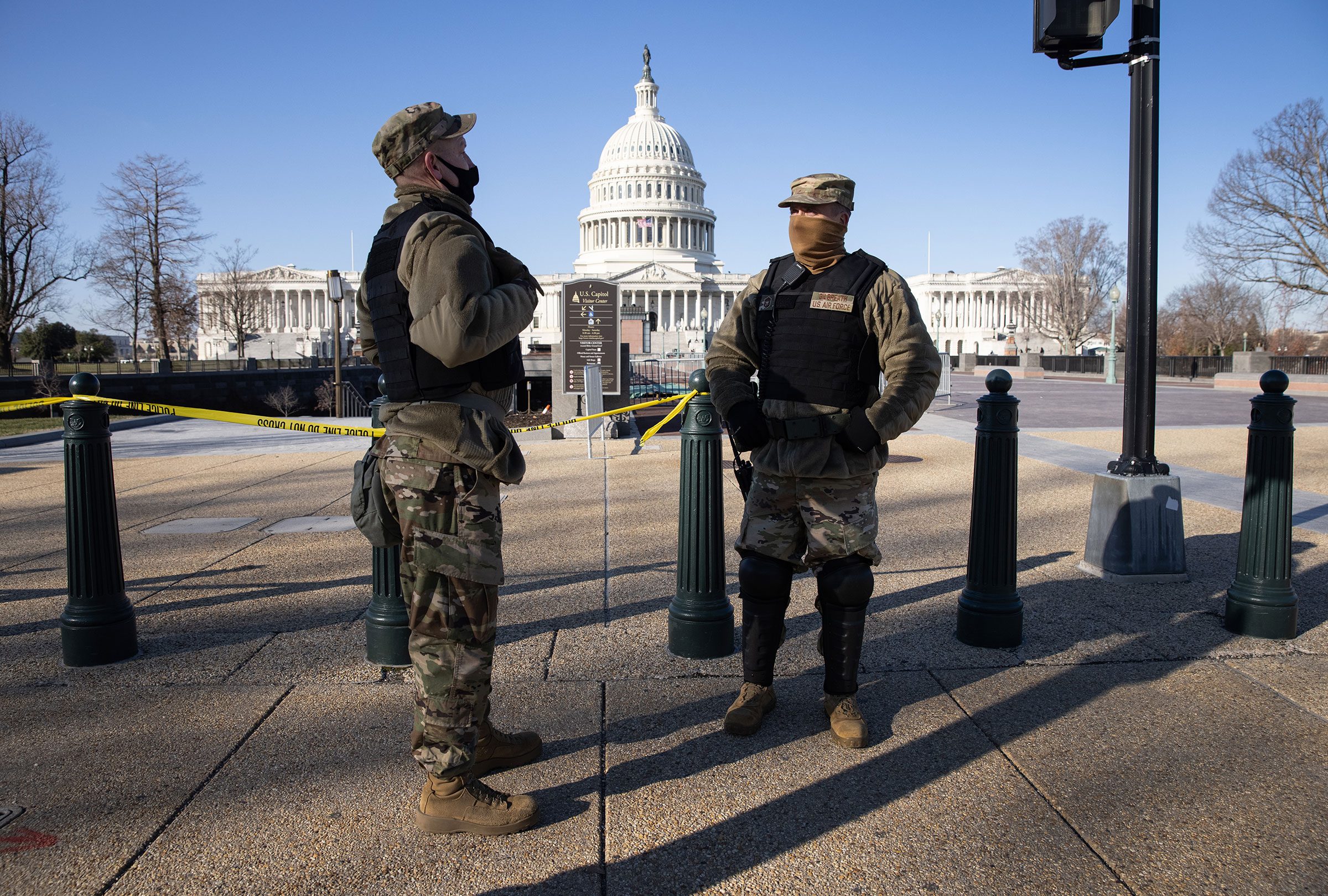 DC National Guard guardsmen stand outside the Capitol on January 7 in Washington, DC.